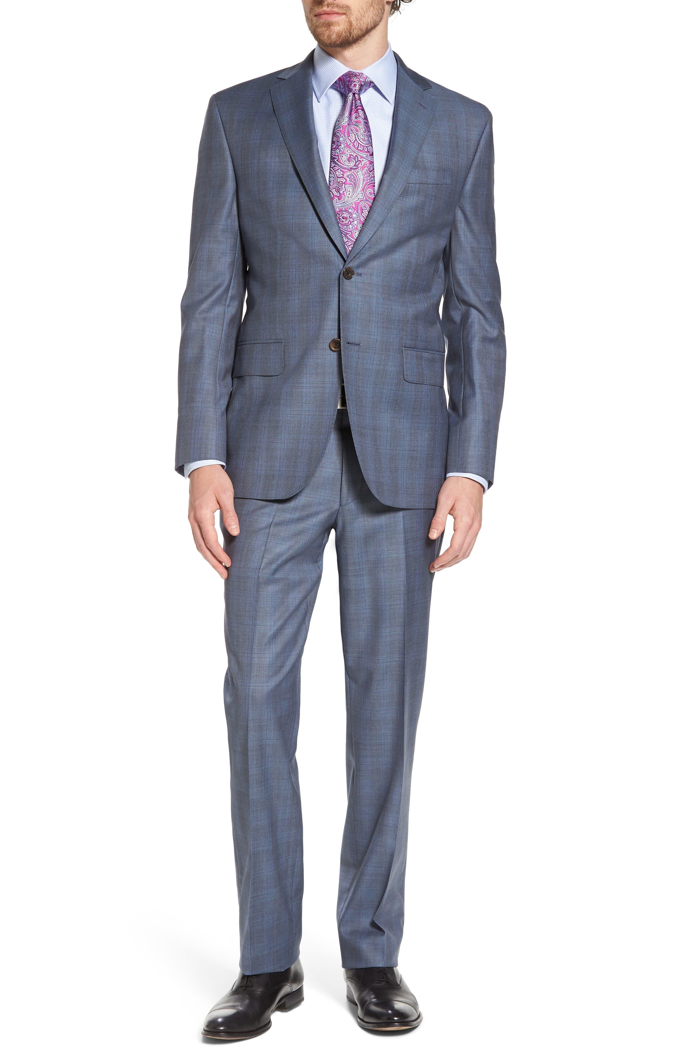 Ryan Classic Fit Plaid Wool Suit,                         Main,                         color, 020