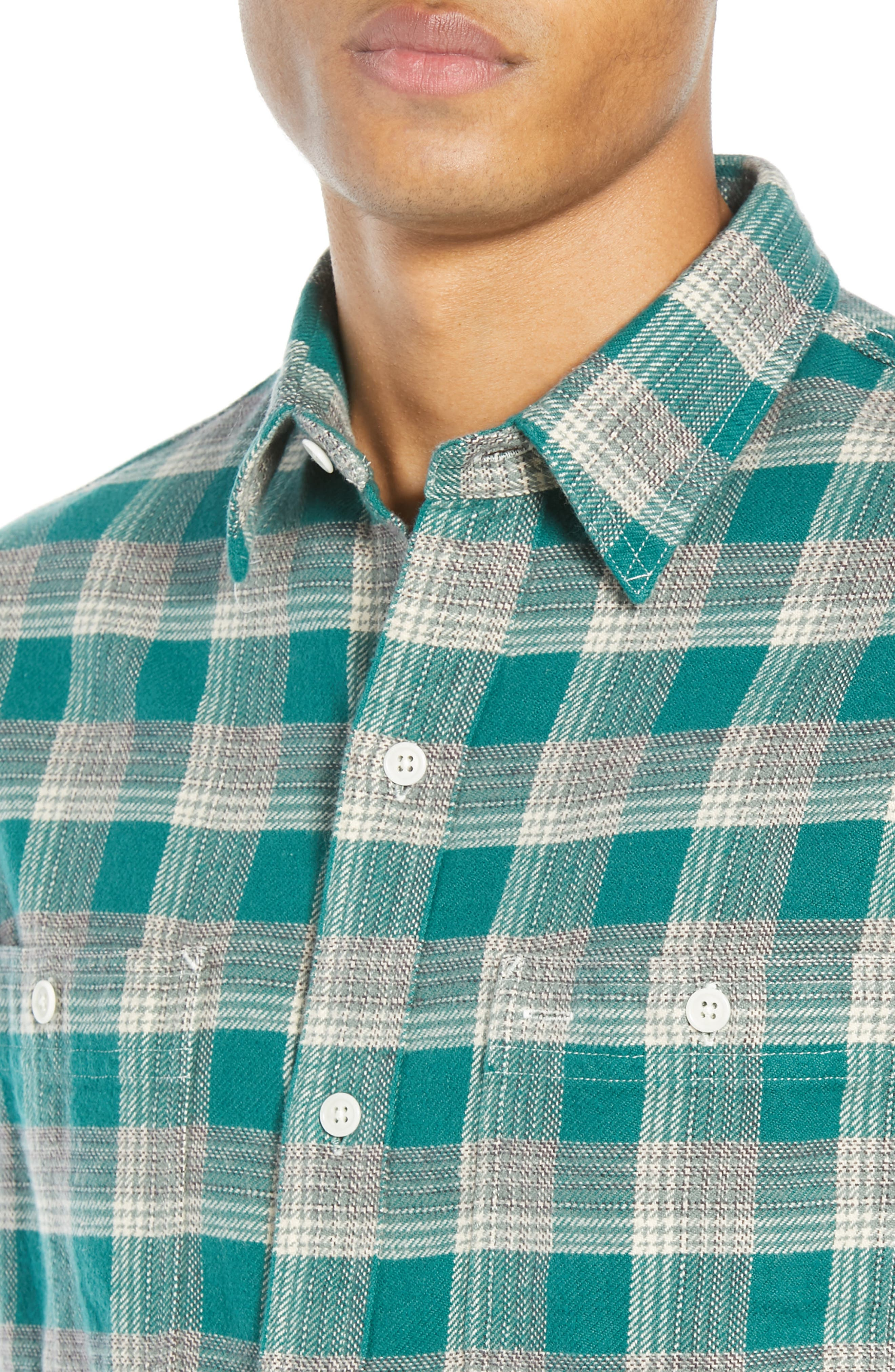 The Heavyweight Flannel Workshirt,                             Alternate thumbnail 5, color,                             GREEN HALF SHADOW