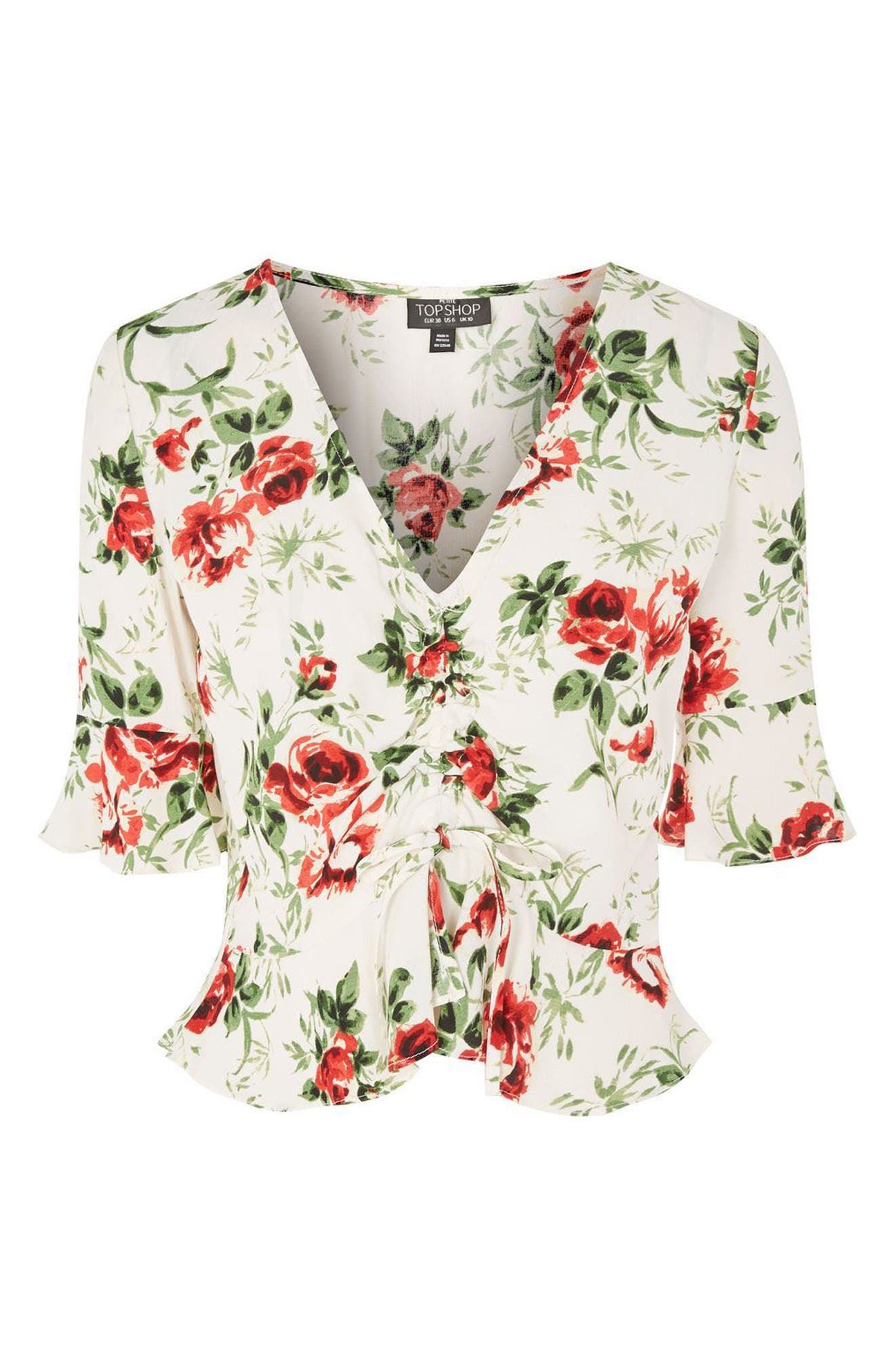 Rose Ruched Front Top,                             Alternate thumbnail 3, color,                             900