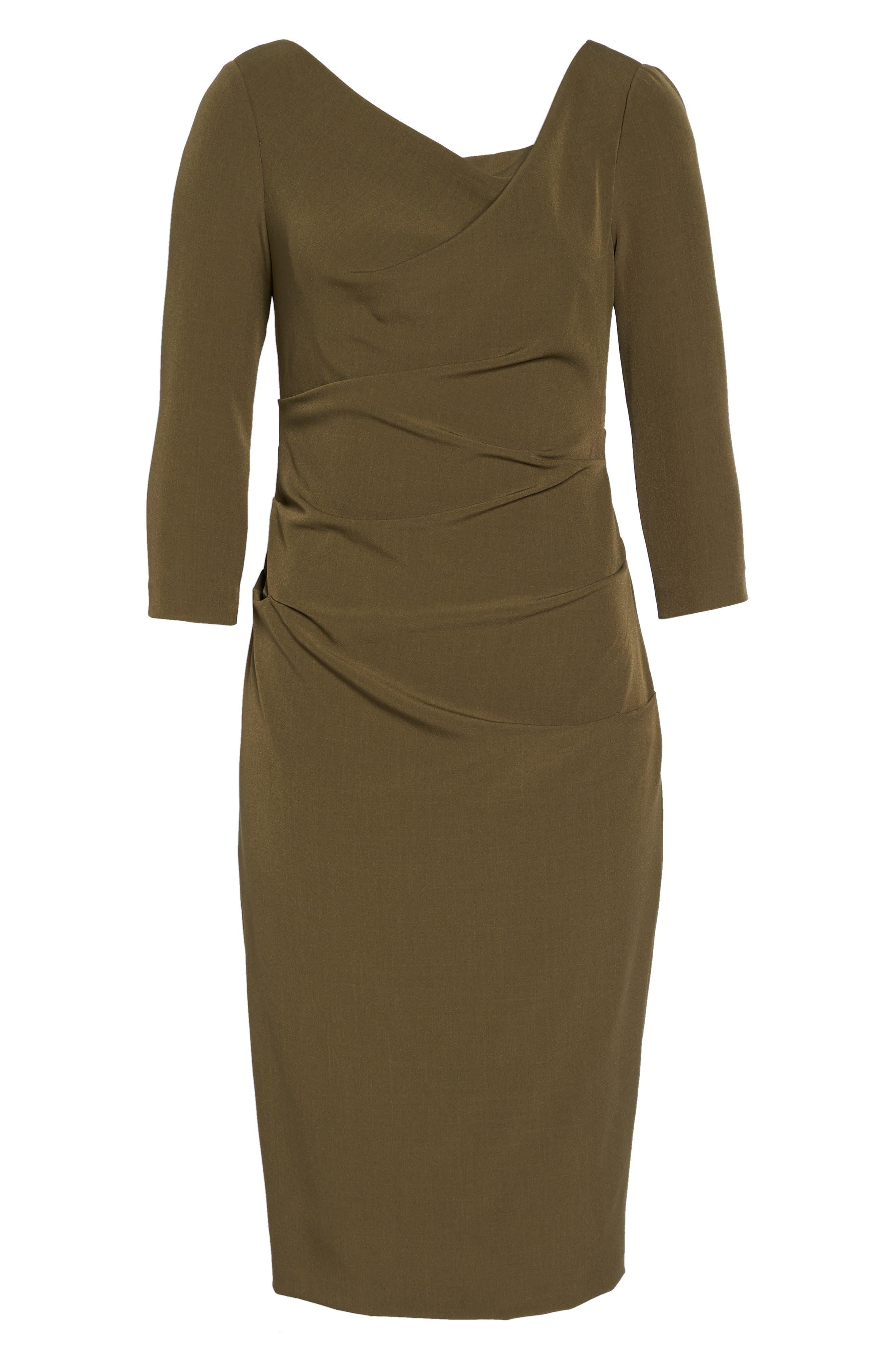 Drape Neck Midi Dress,                             Alternate thumbnail 6, color,                             371