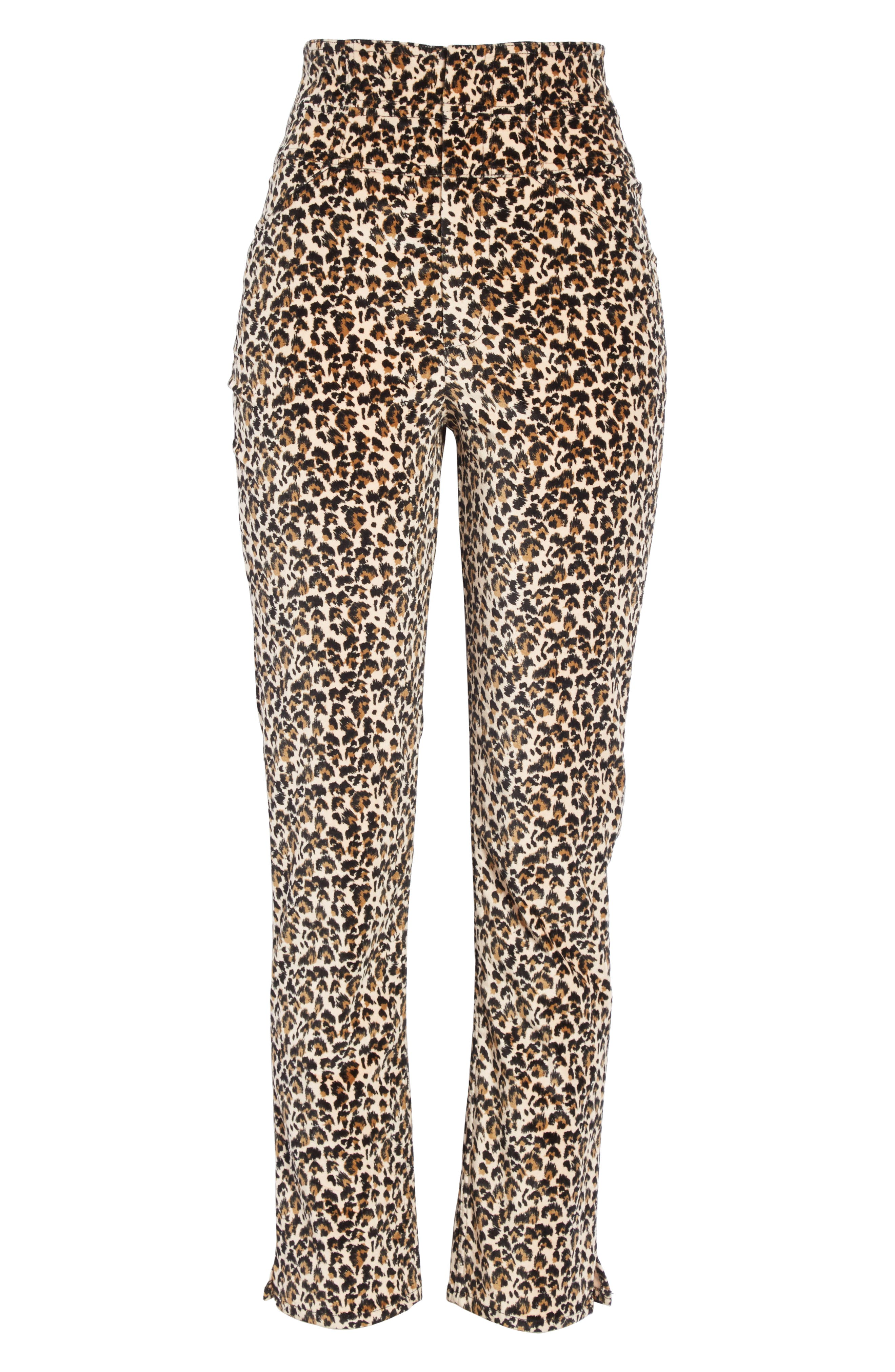 Leopard Print Stretch Velvet Pants,                             Alternate thumbnail 6, color,                             250