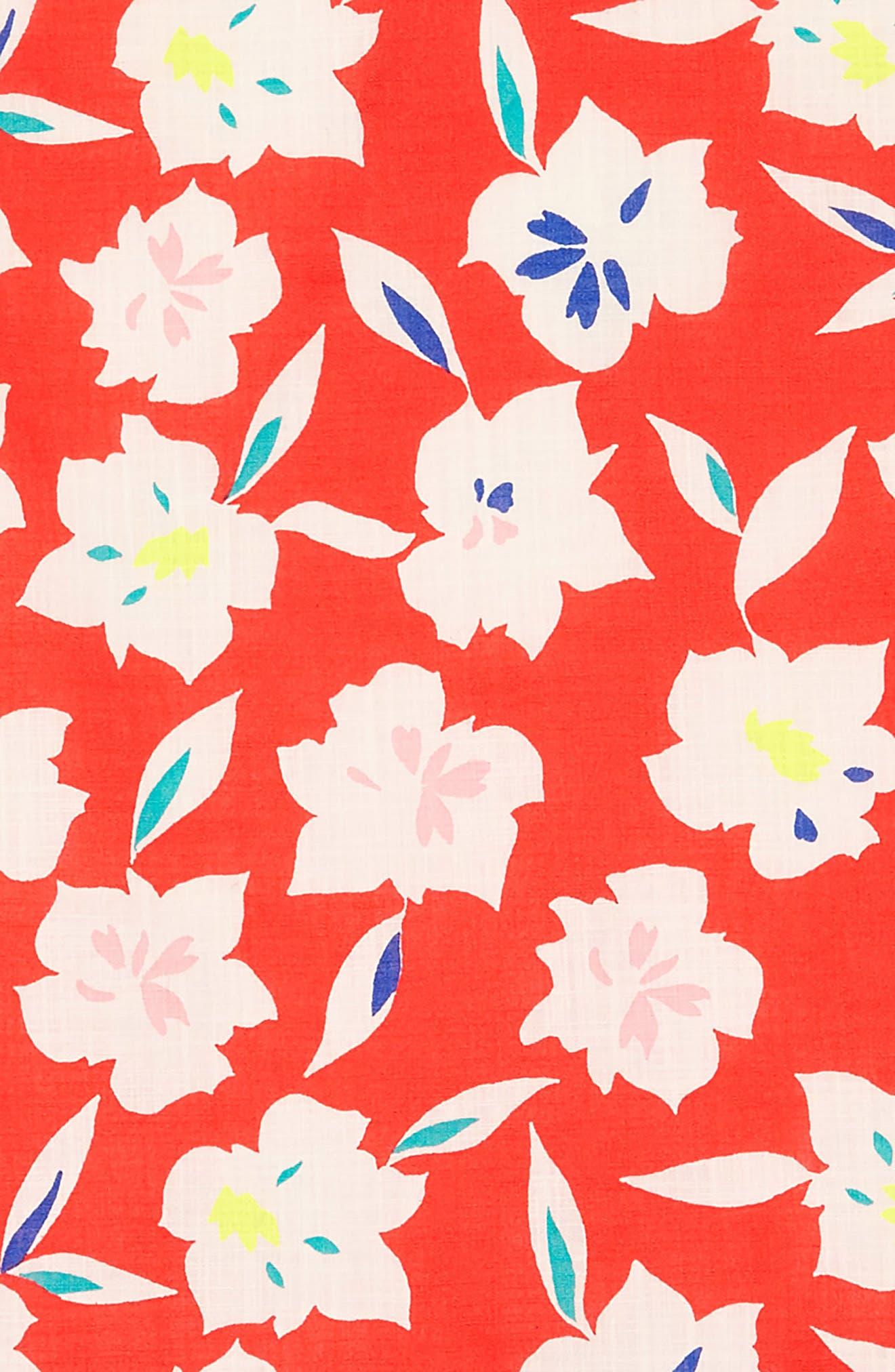 Floral Ruffle Trim Dress,                             Alternate thumbnail 3, color,                             650