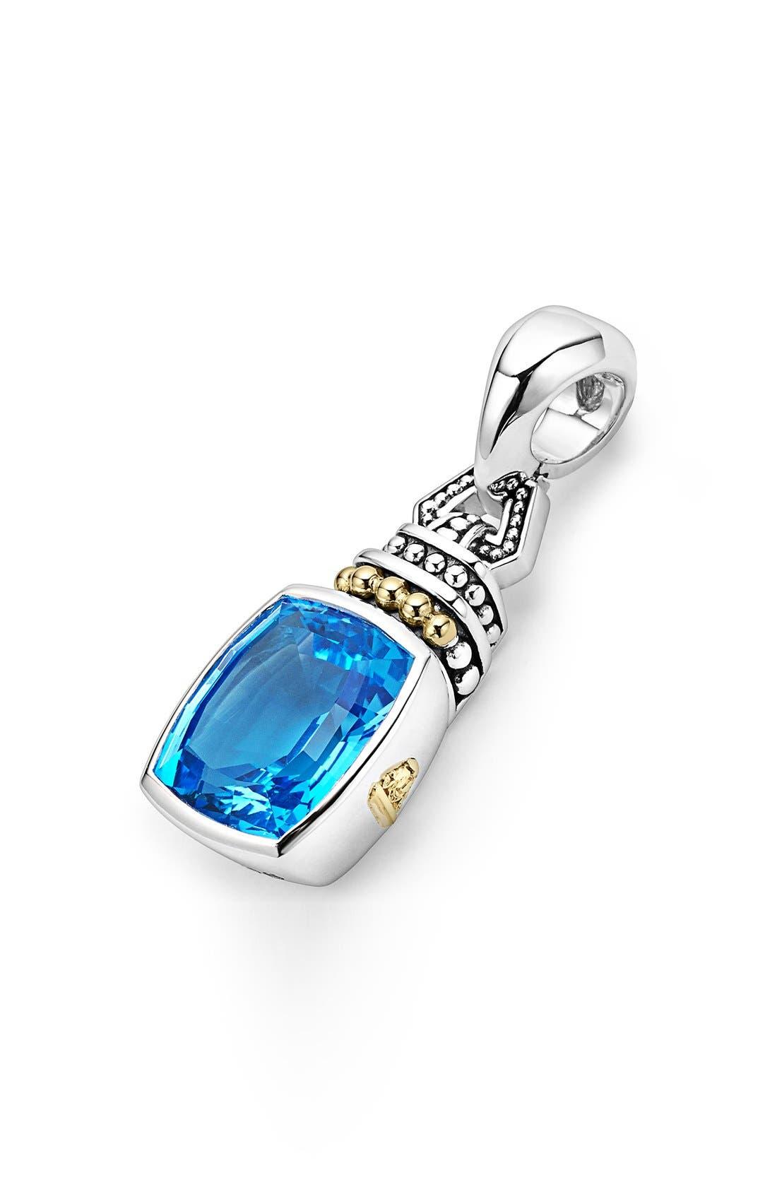 'Caviar Color' Semiprecious Stone Clip Pendant,                             Alternate thumbnail 3, color,                             BLUE TOPAZ