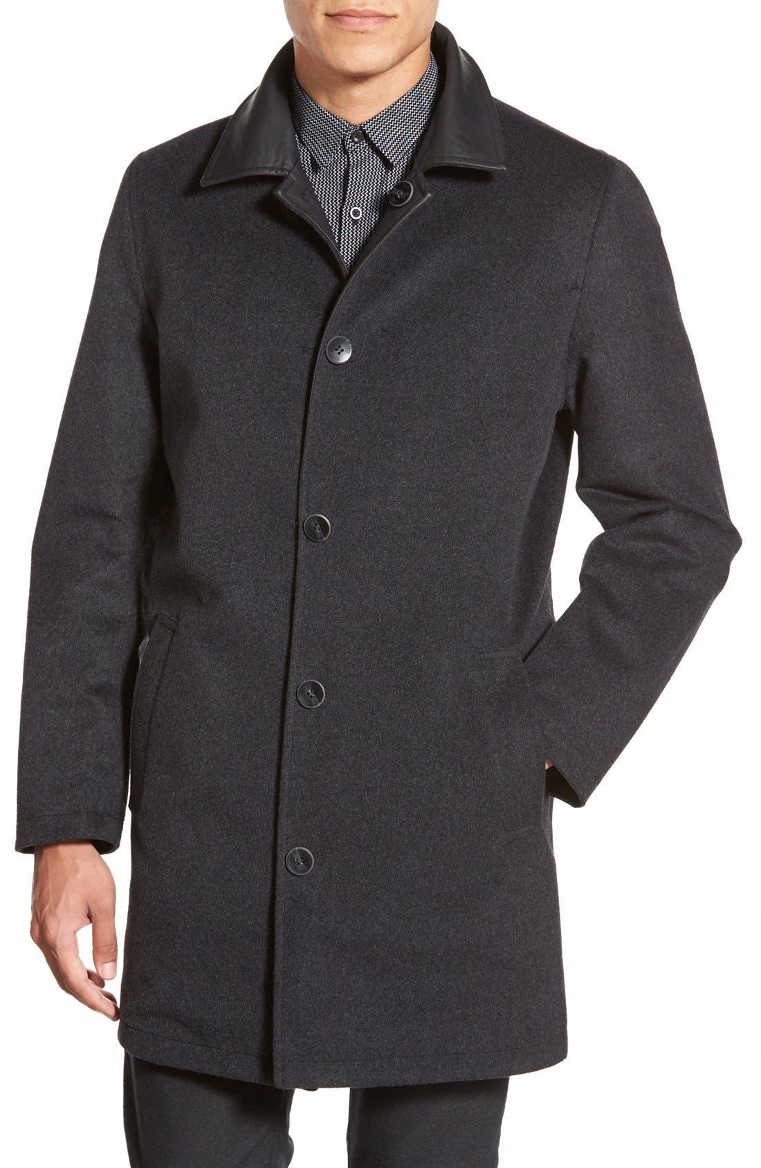 Cotton & Wool Reversible Car Coat,                             Alternate thumbnail 2, color,                             001