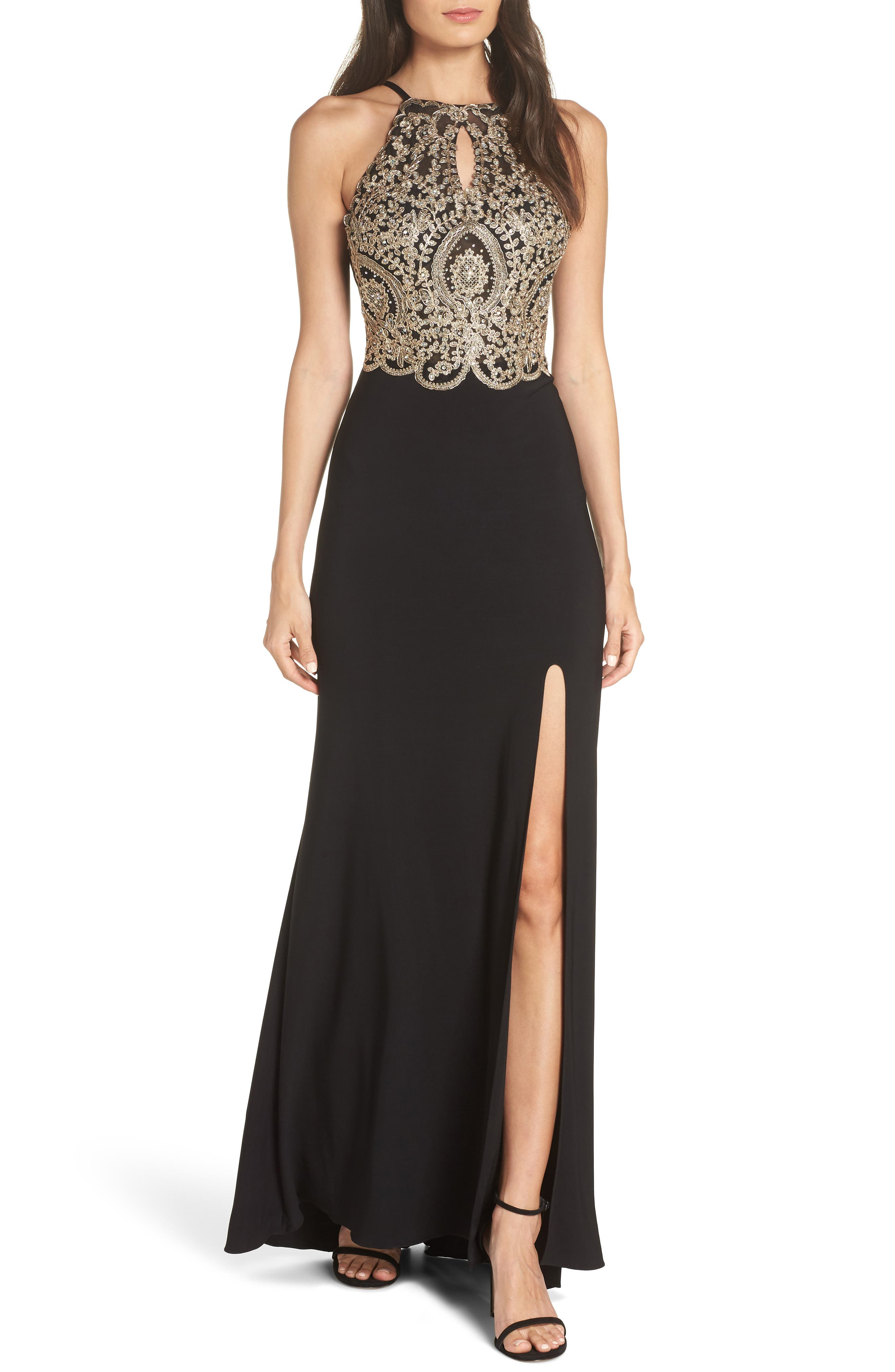 BLONDIE NITES Embellished Appliqué Halter Gown, Main, color, BLACK/ GOLD
