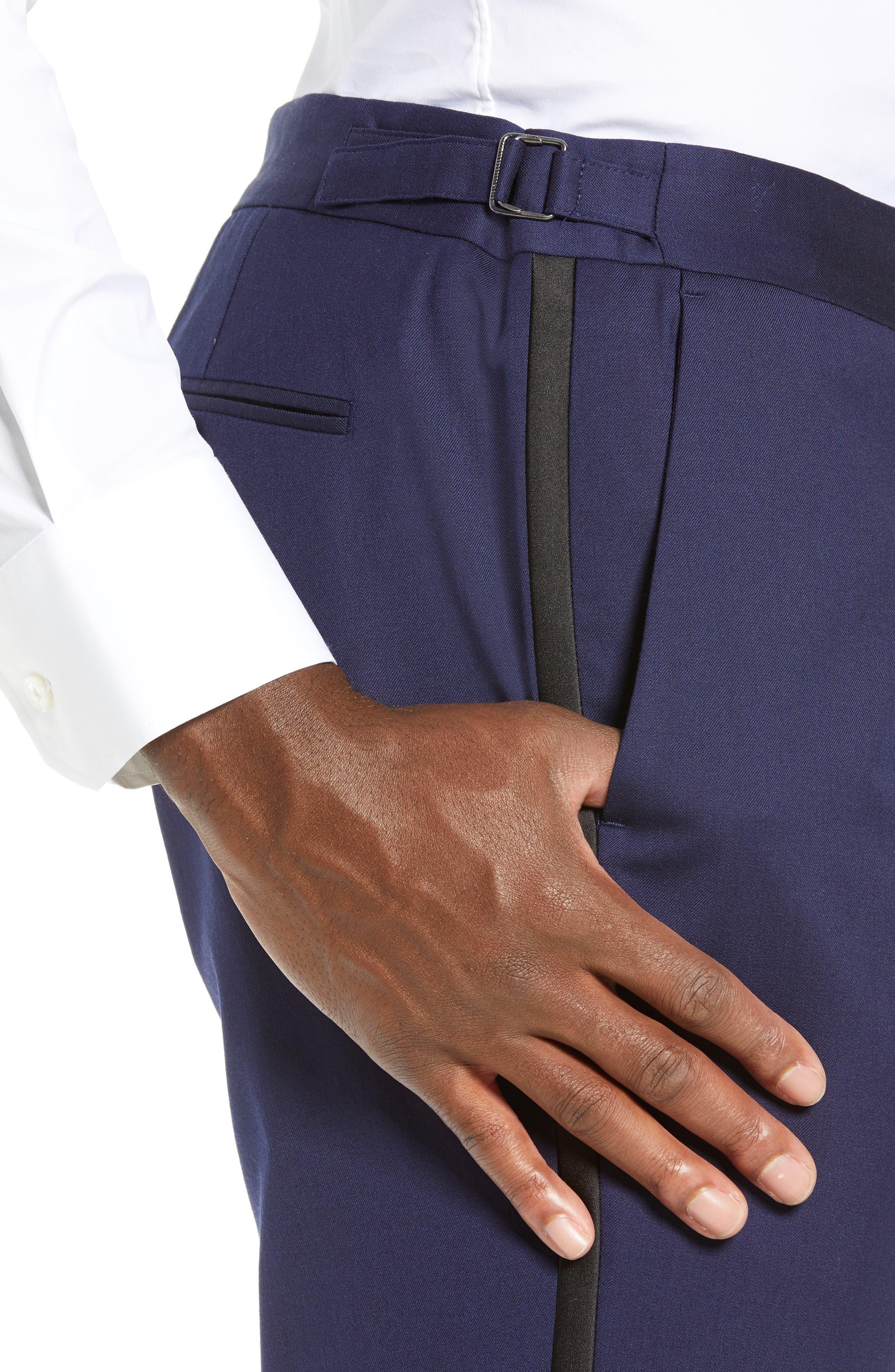 Capstone Slim Fit Tuxedo Trousers,                             Alternate thumbnail 4, color,                             NAVY