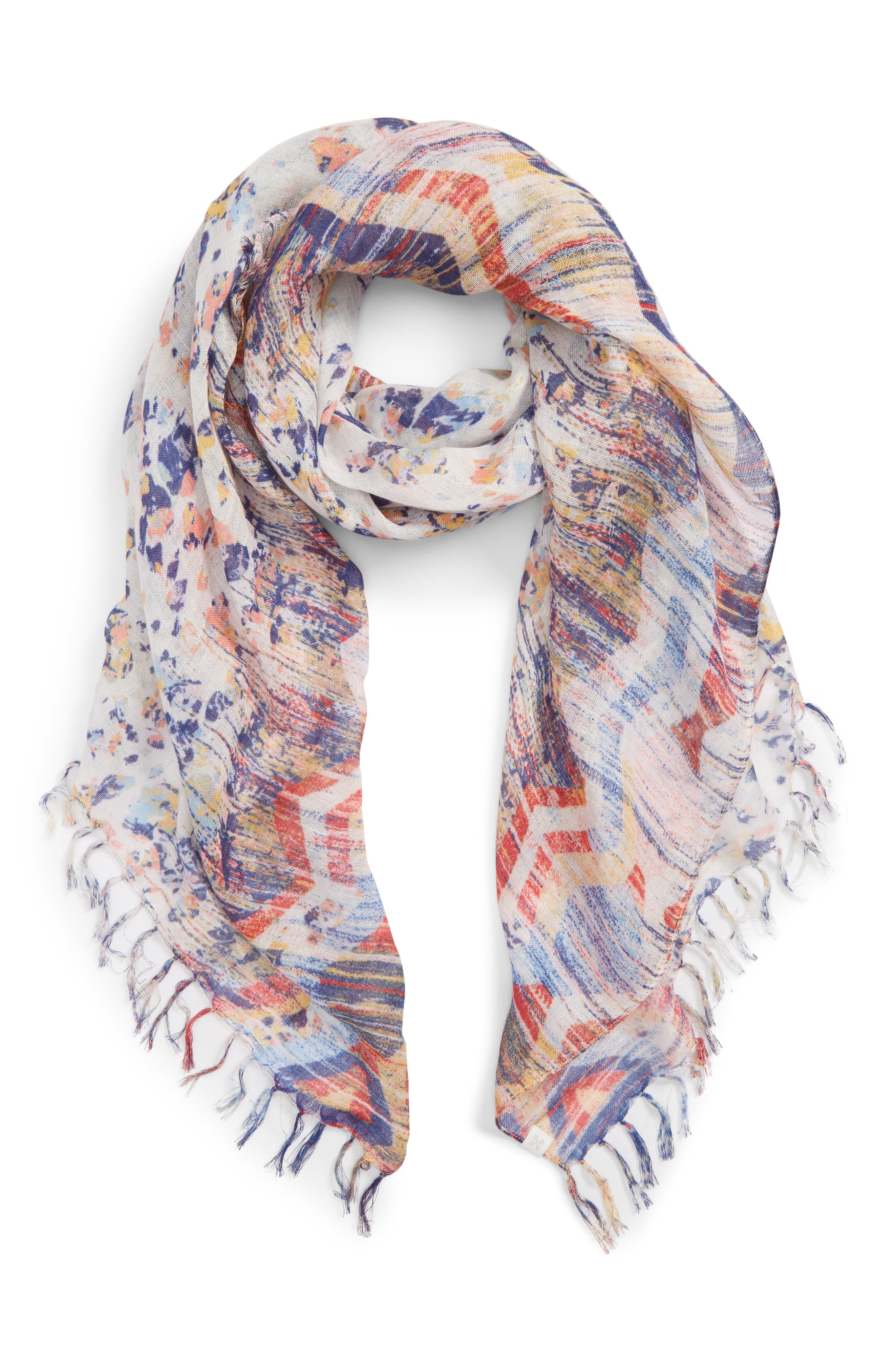 Mixed Print Scarf,                             Alternate thumbnail 2, color,                             100