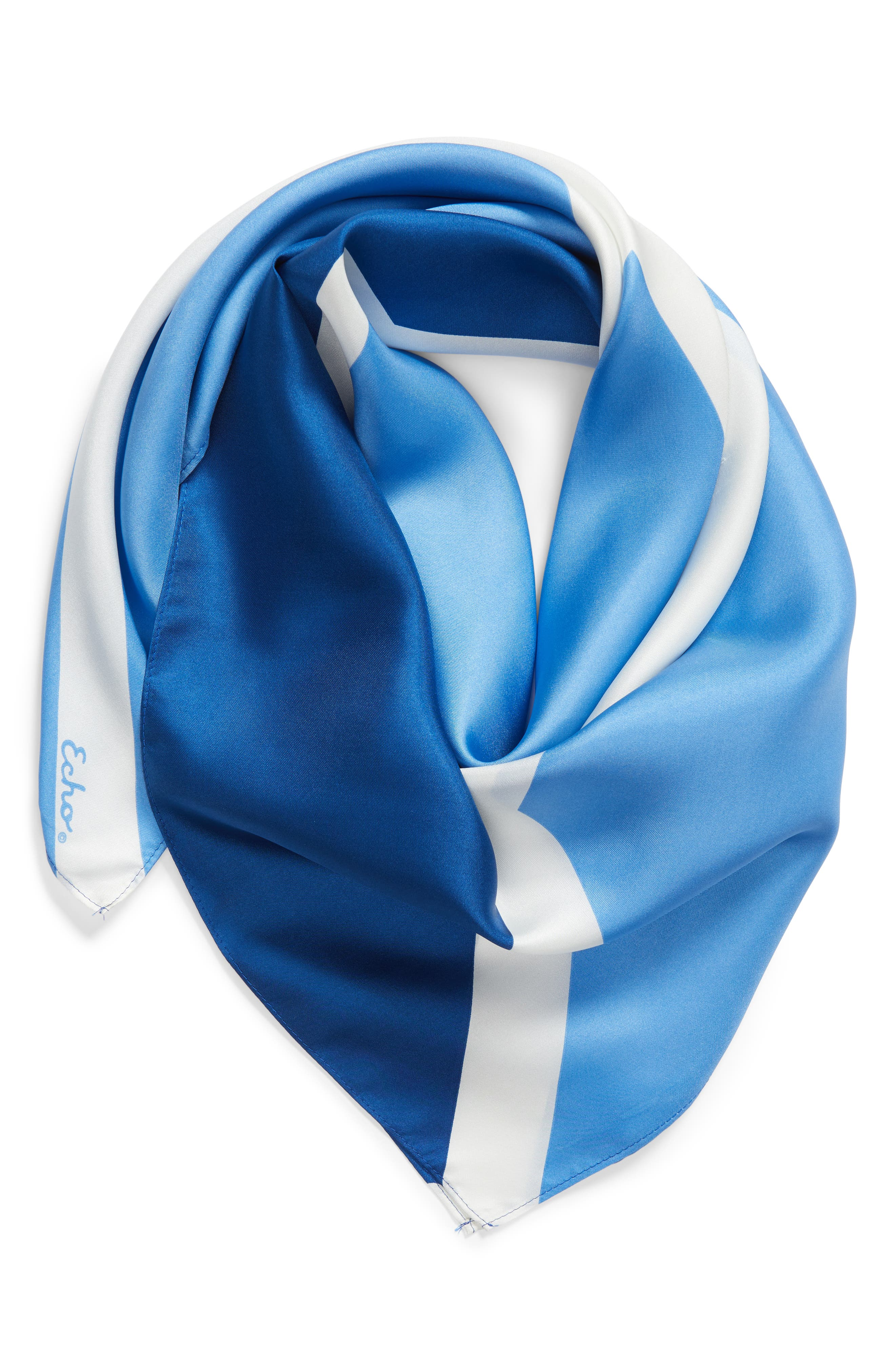 Colorblock Square Silk Scarf,                             Alternate thumbnail 2, color,                             COASTAL BLUE