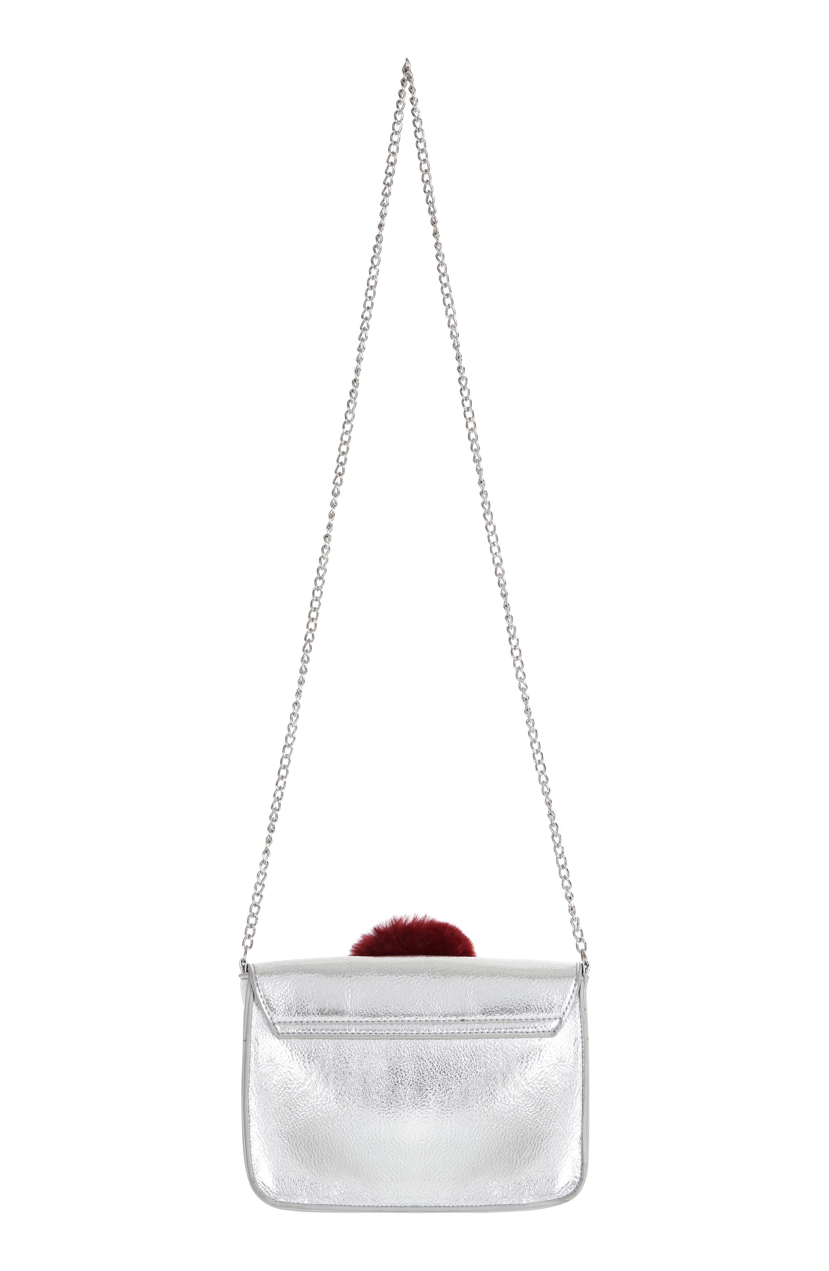 Metallic Pom Shoulder Bag,                             Alternate thumbnail 2, color,                             SILVER COMBO