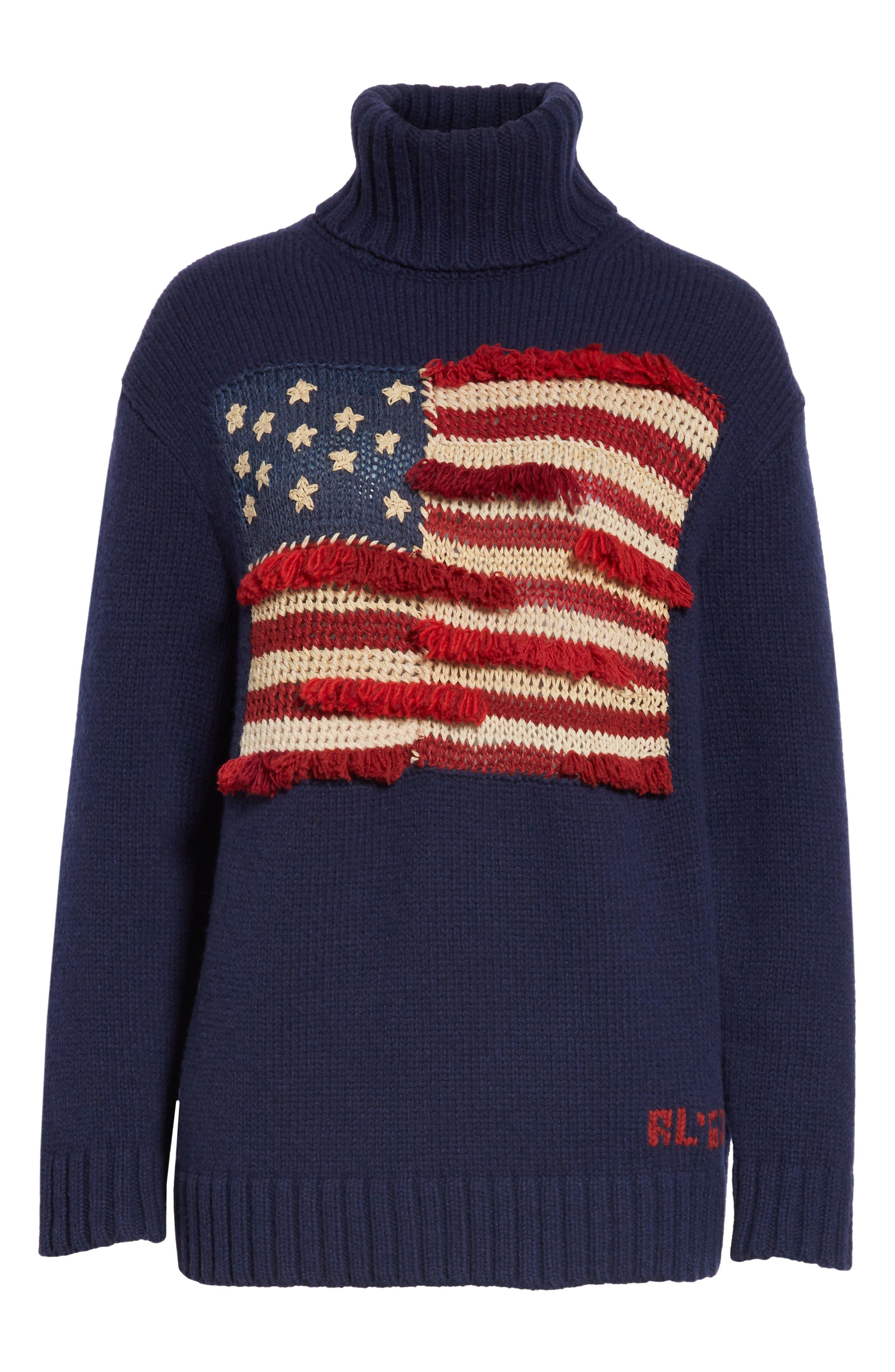 Fringe Flag Wool Sweater,                             Alternate thumbnail 6, color,                             NAVY MULTI