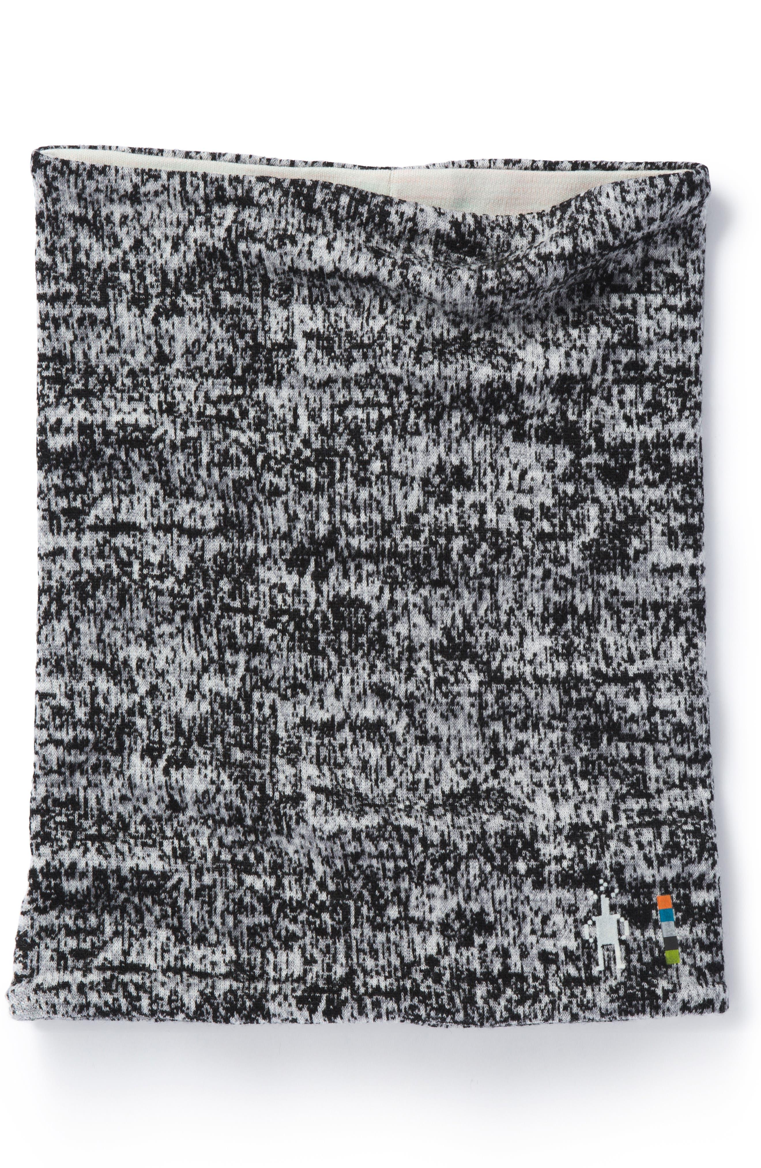 Merino 250 Reversible Neck Gaiter,                             Main thumbnail 1, color,                             BLACK/ MOONBEAM HEATHER
