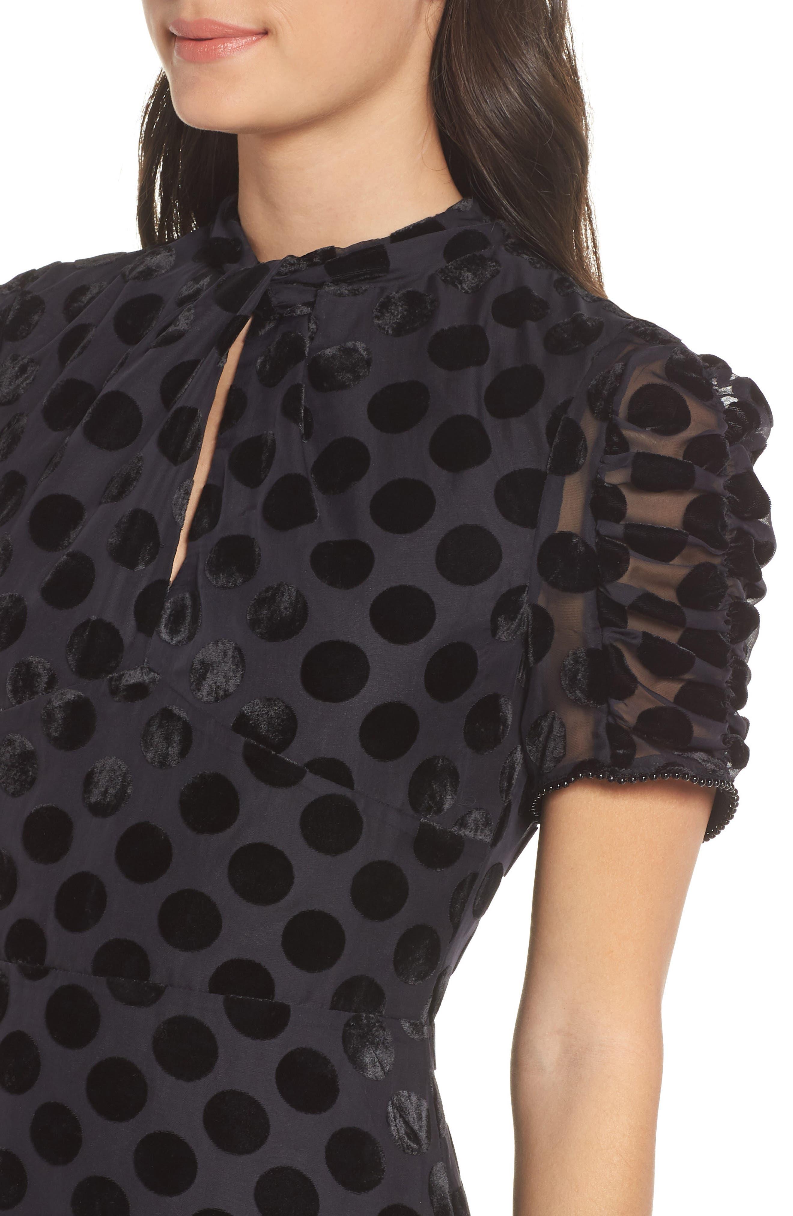 Asymmetrical Velvet Dot Dress,                             Alternate thumbnail 4, color,                             BLACK