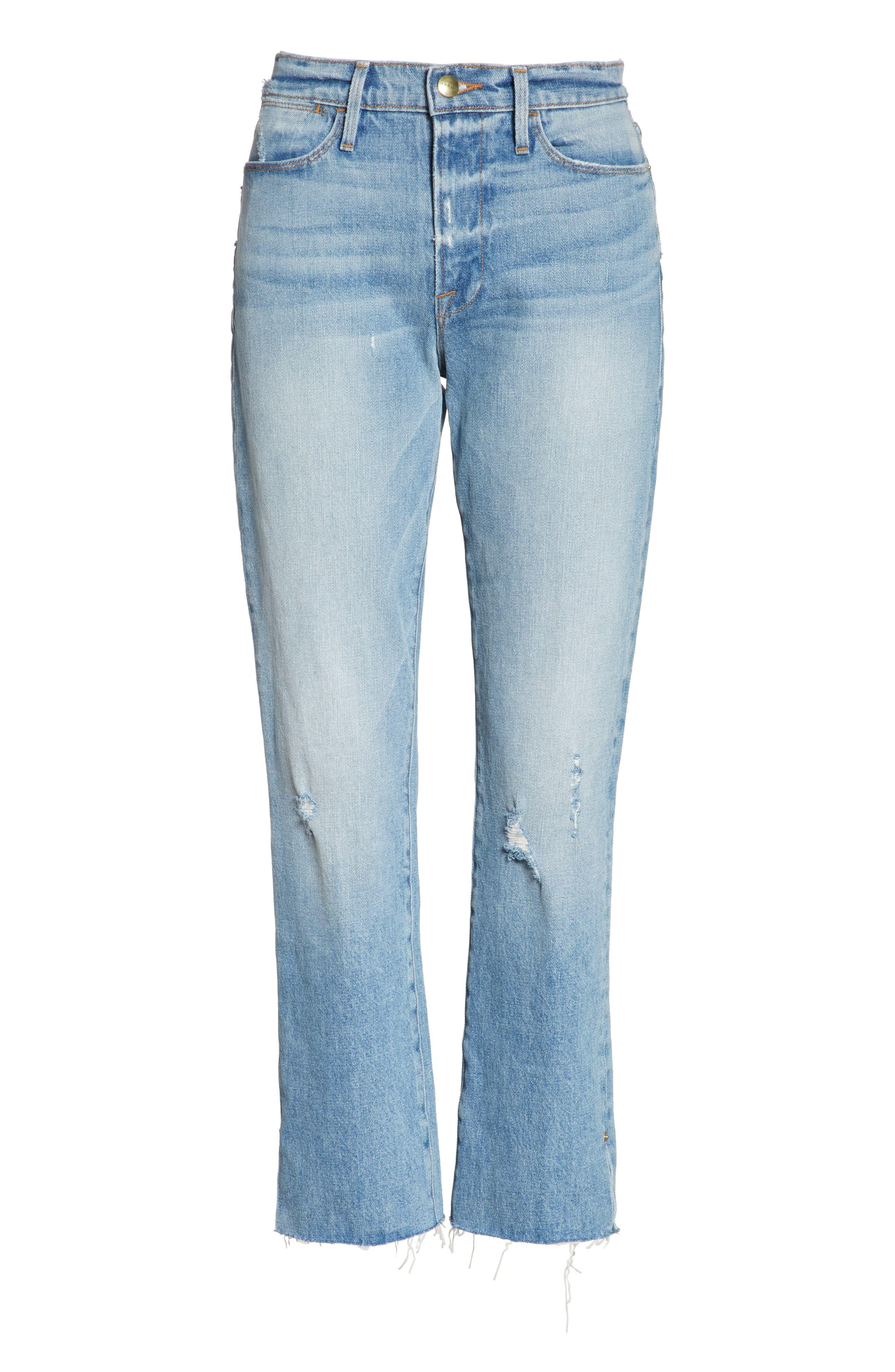 Le High Crop Straight Jeans,                             Alternate thumbnail 6, color,                             450