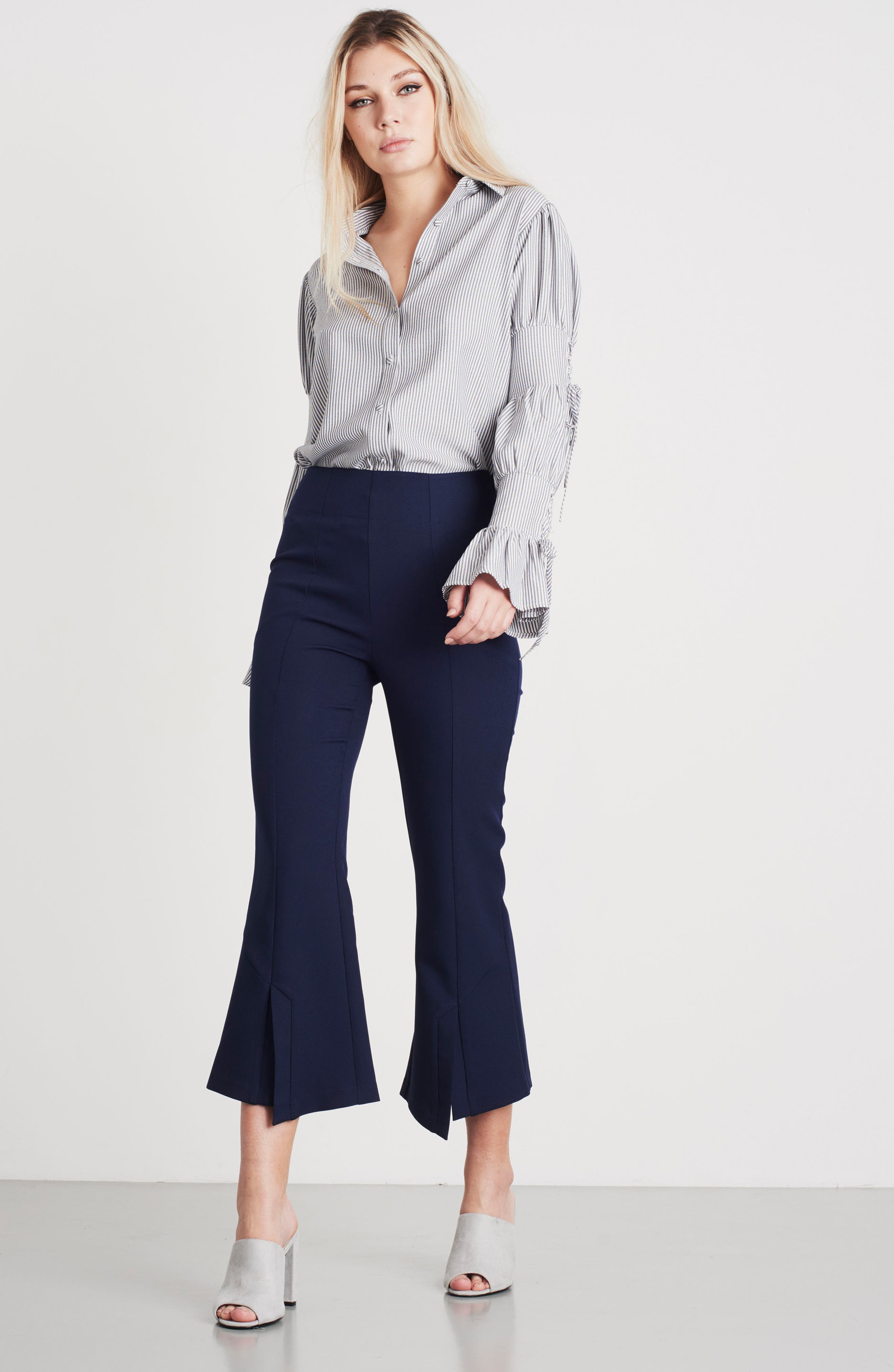 High Waist Crop Flare Pants,                             Alternate thumbnail 8, color,