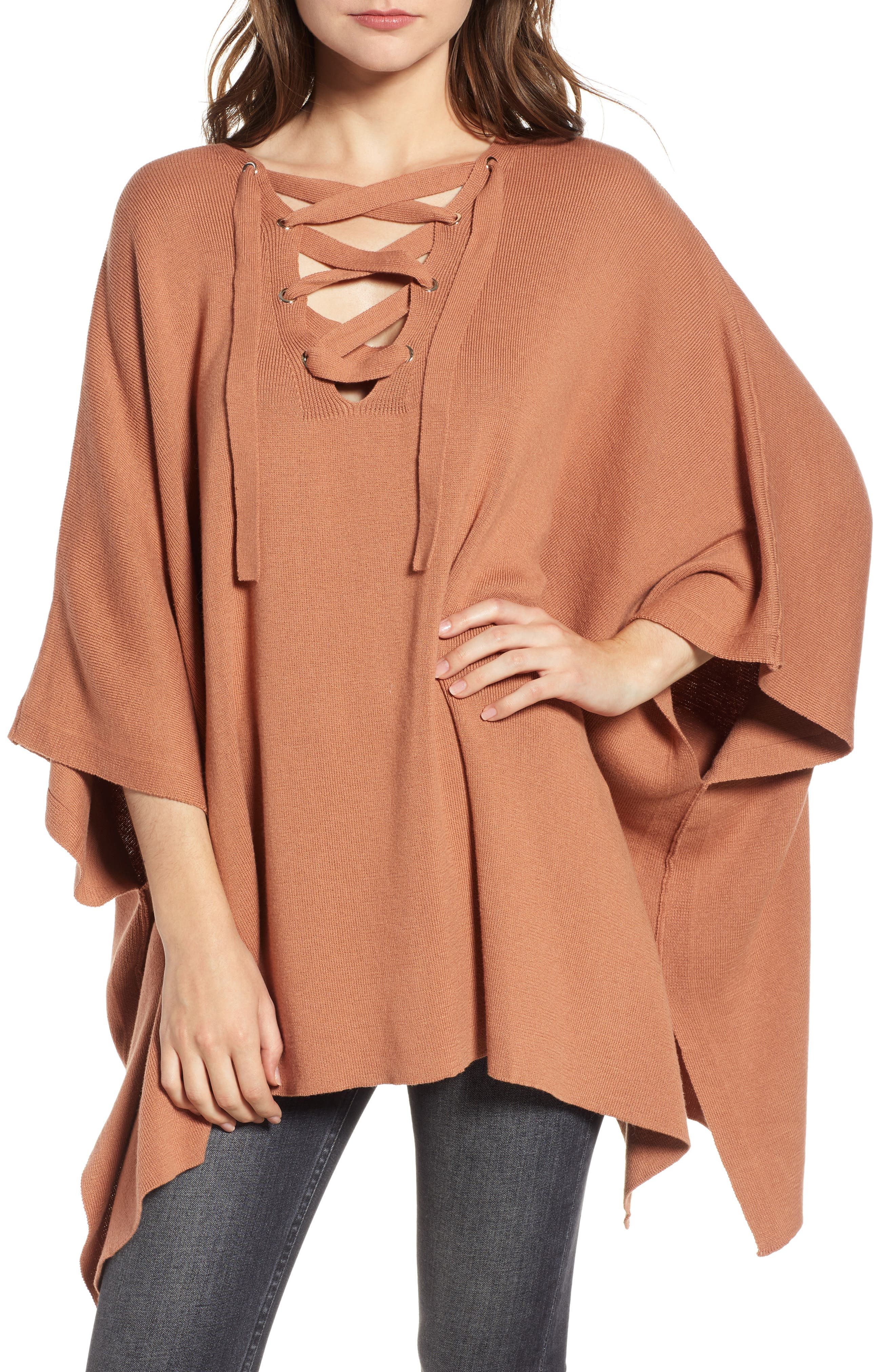 Harper Lace Up Poncho Sweater, Main, color, 832