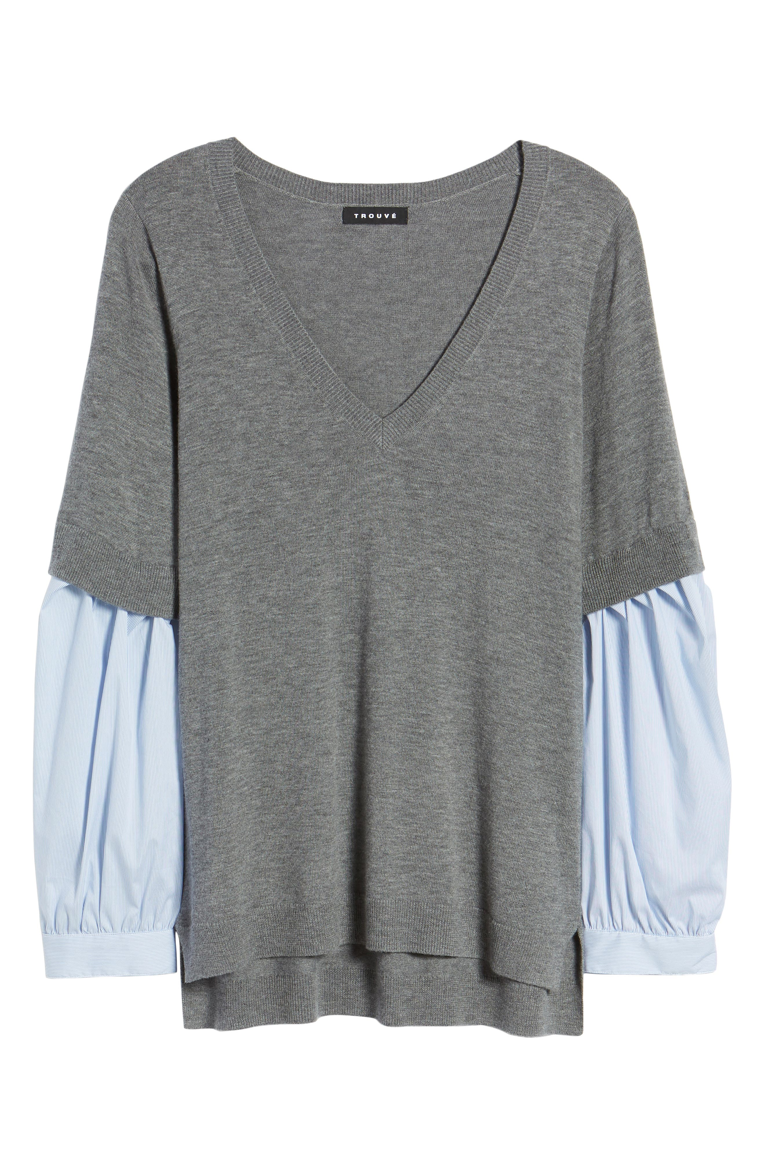 Woven Sleeve Sweater,                             Alternate thumbnail 6, color,                             030