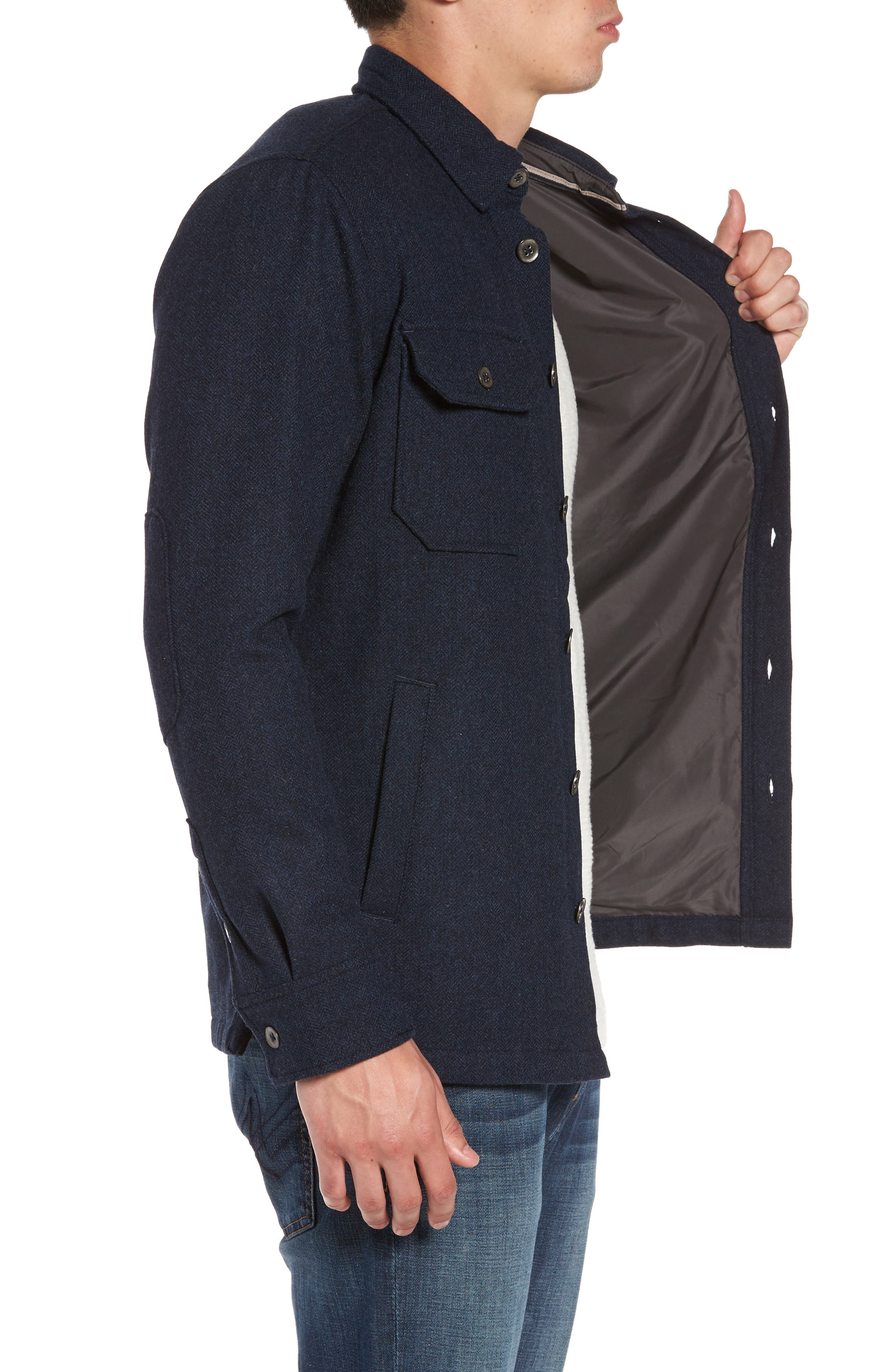 Creek Herringbone Wool Shirt Jacket,                             Alternate thumbnail 3, color,