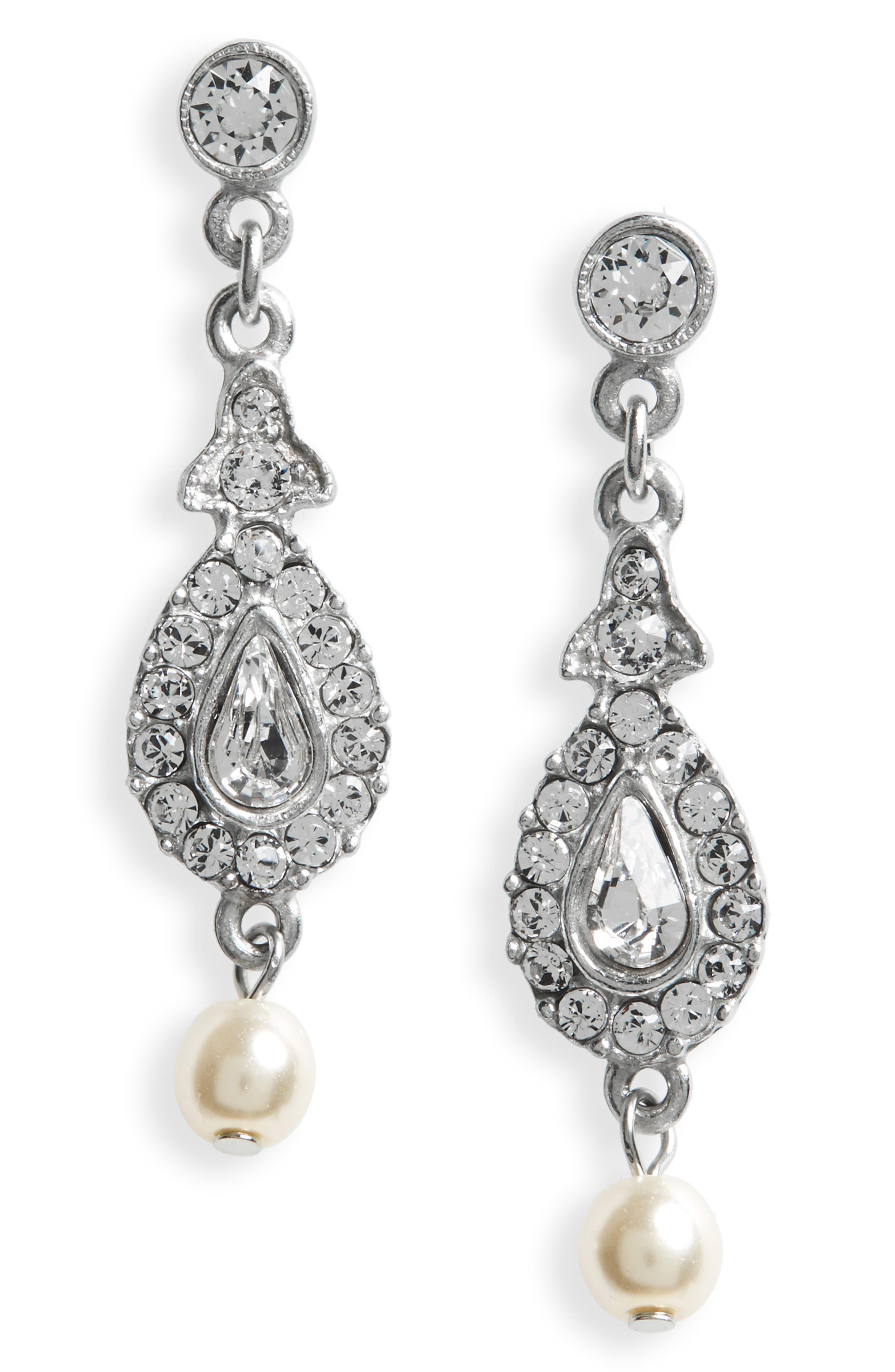 Glass Pearl & Swarovski Crystal Drop Earrings,                             Main thumbnail 1, color,                             SILVER / IVORY