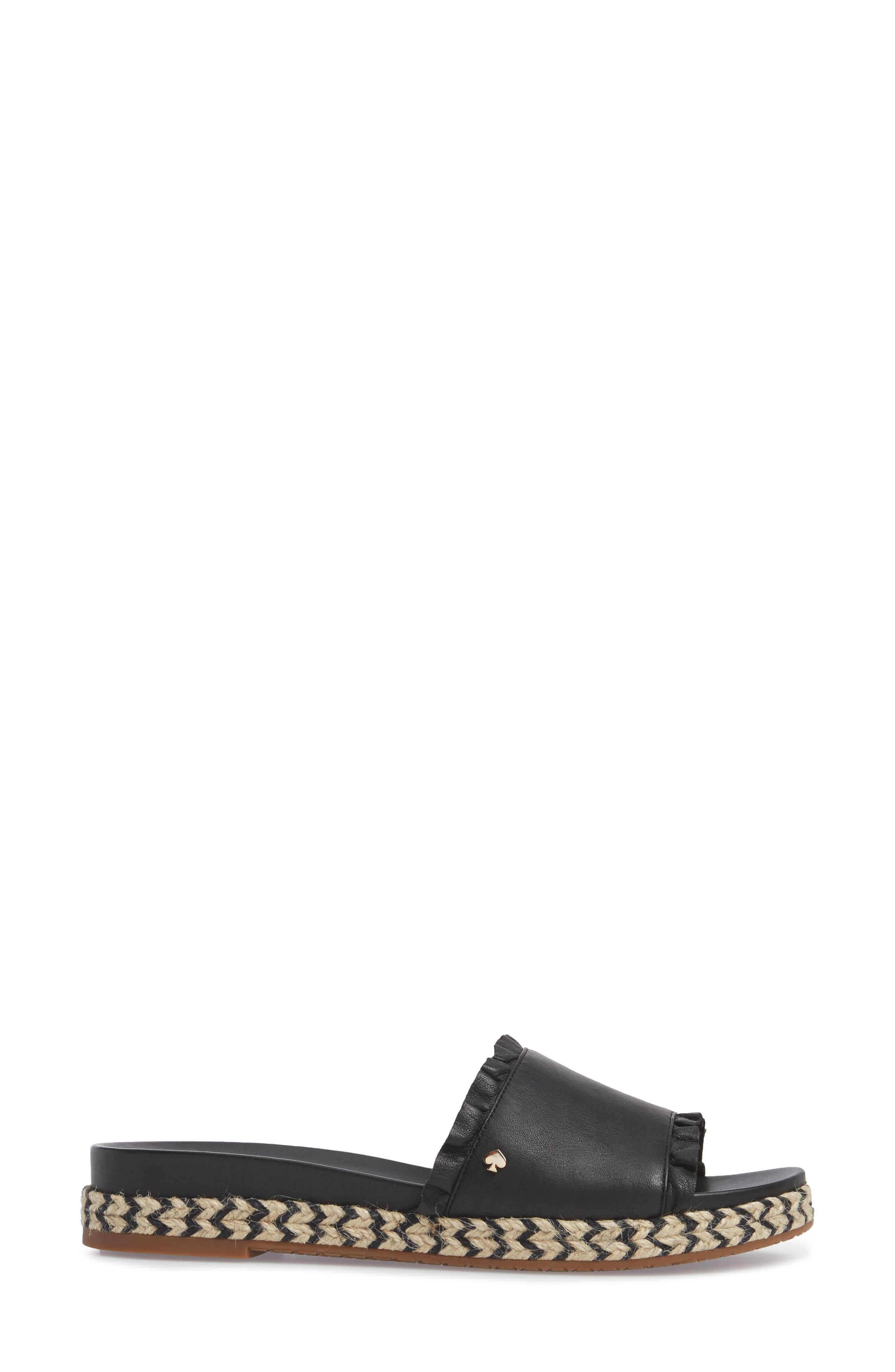 zahara slide sandal,                             Alternate thumbnail 3, color,                             BLACK NAPPA