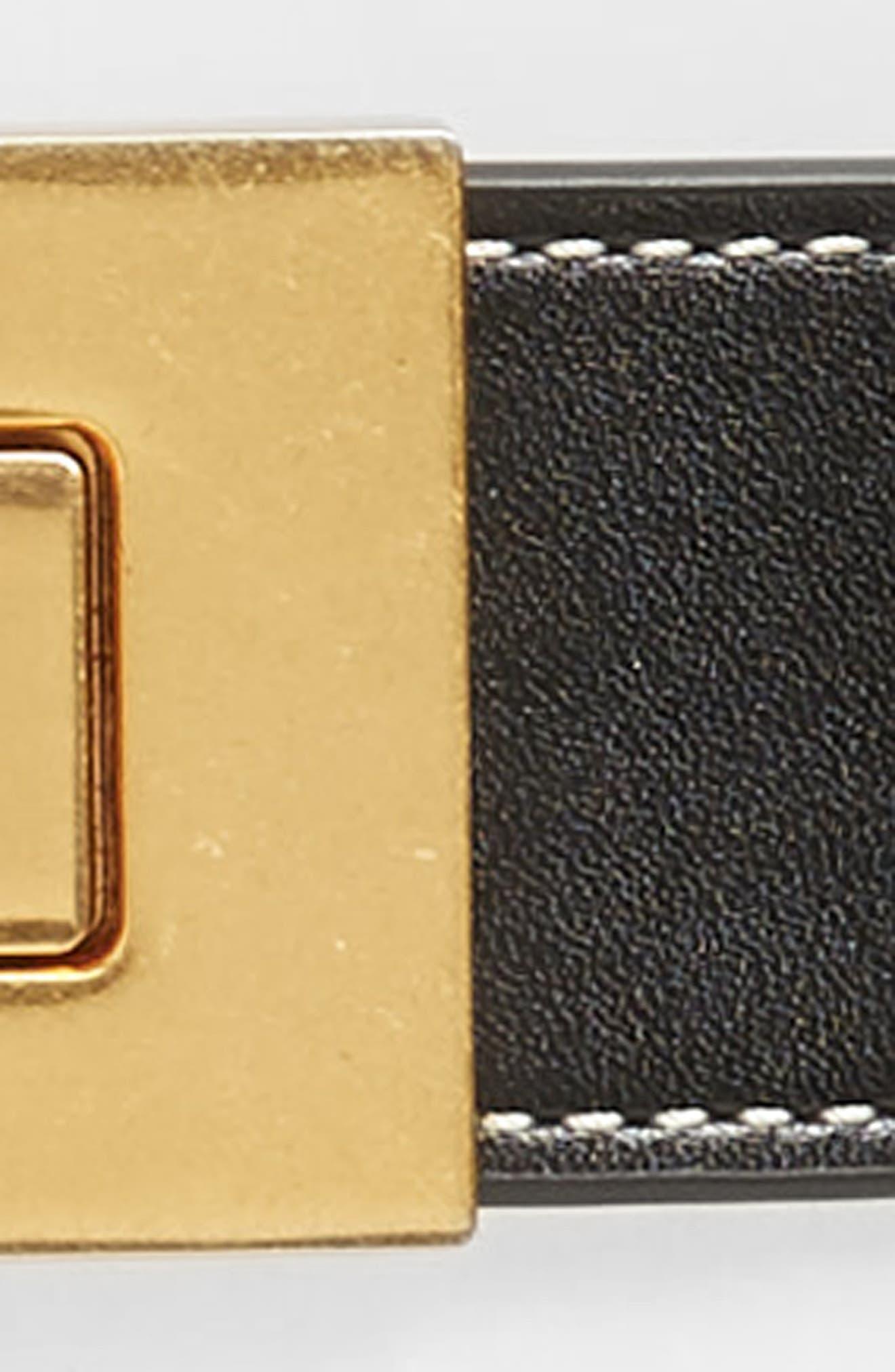 T Logo Clip Leather Belt,                             Alternate thumbnail 3, color,                             BLACK