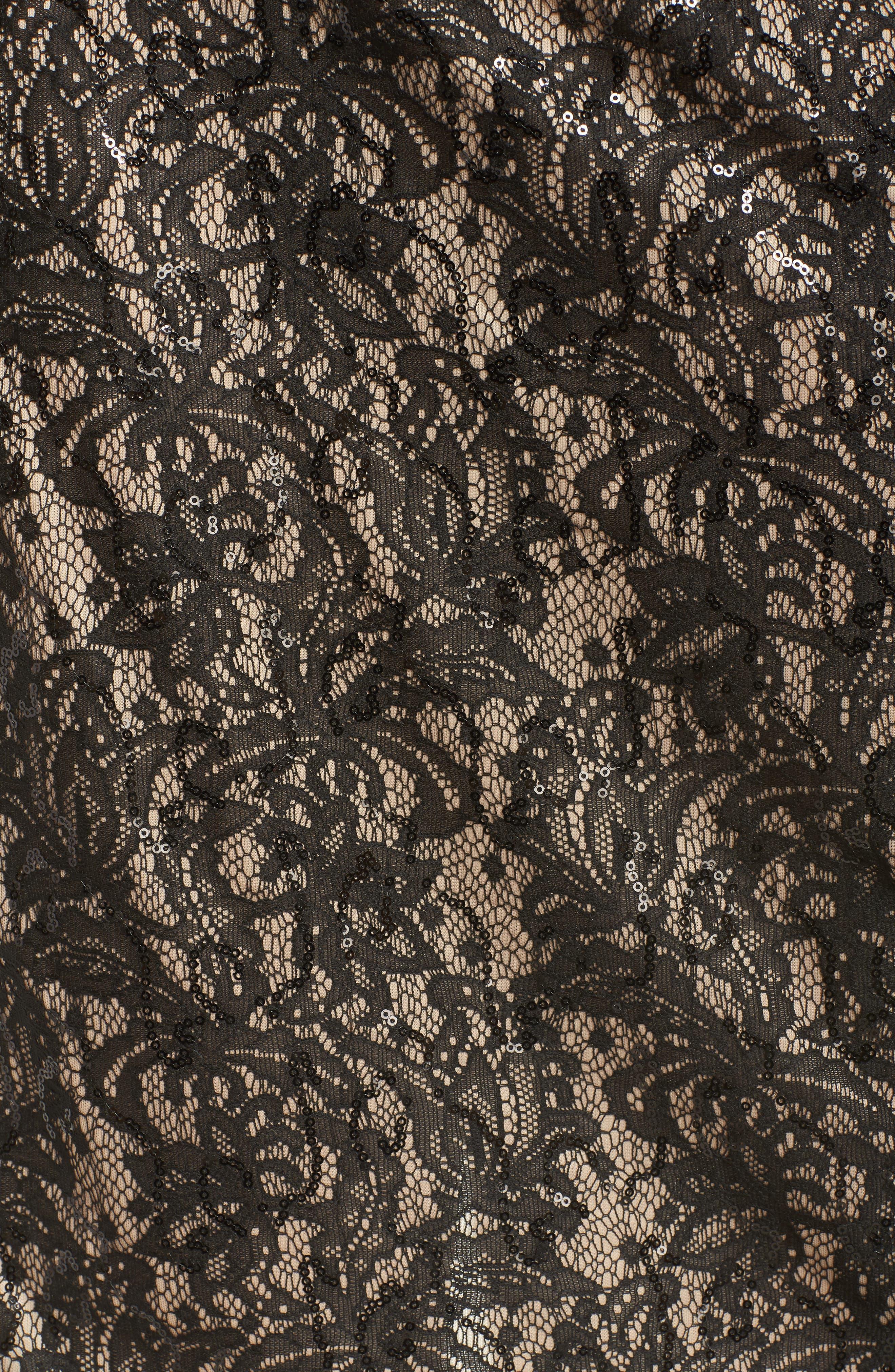 Off the Shoulder Lace Sheath Dress,                             Alternate thumbnail 6, color,                             BLACK TAN