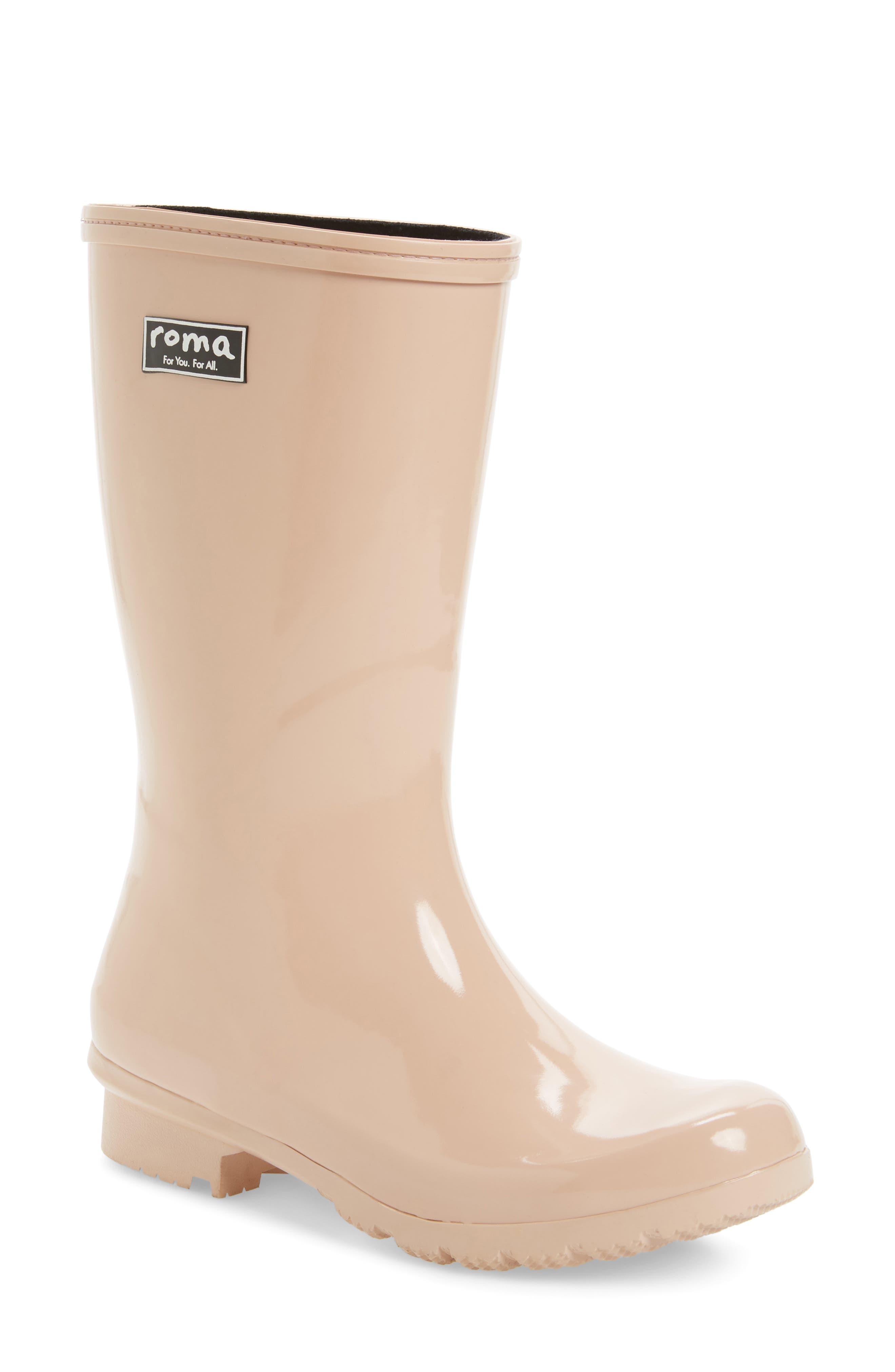 'Emma - Short' Glossy Rain Boot,                             Main thumbnail 2, color,