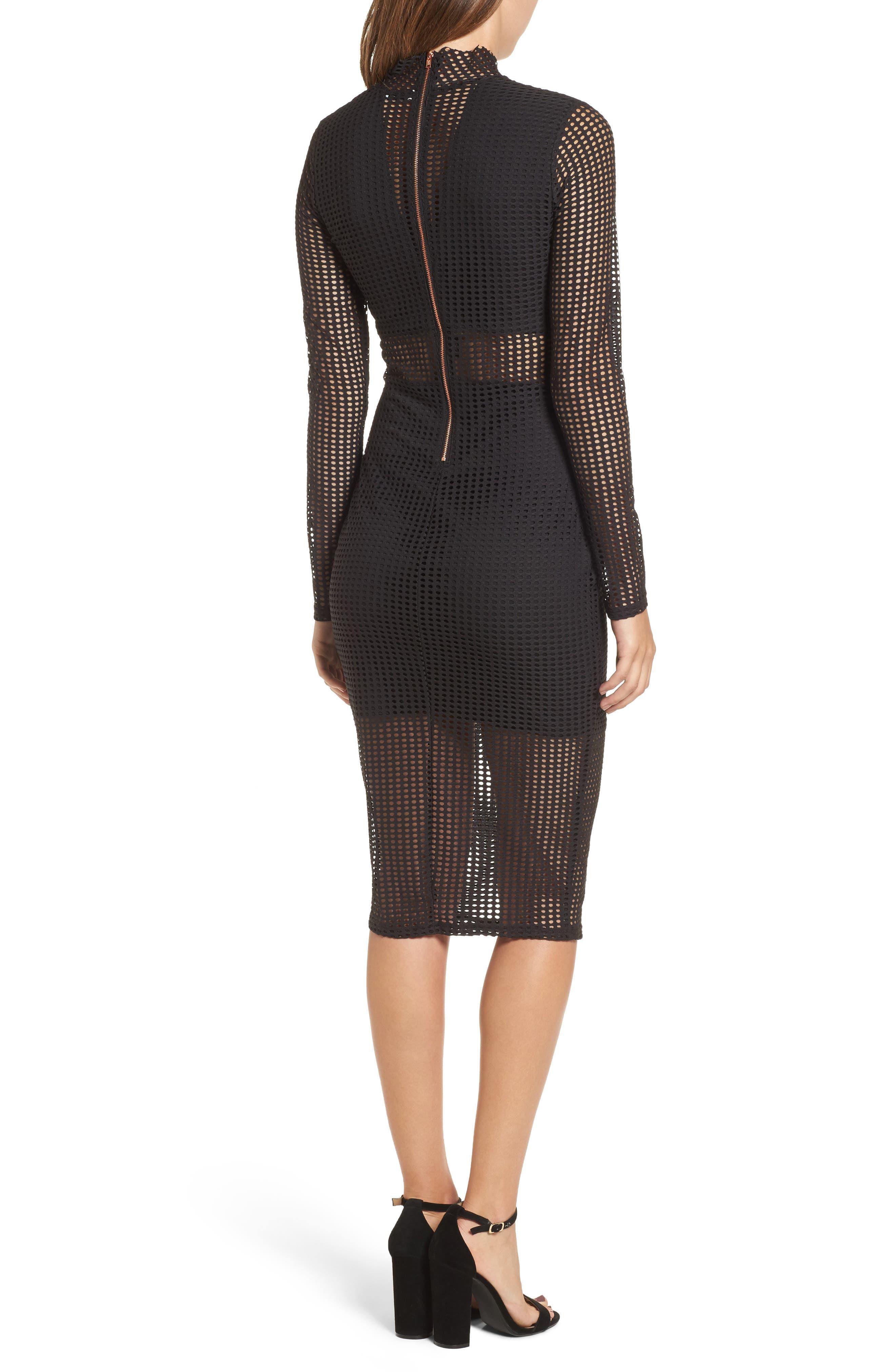 Laser Cut Body-Con Dress,                             Alternate thumbnail 2, color,                             001