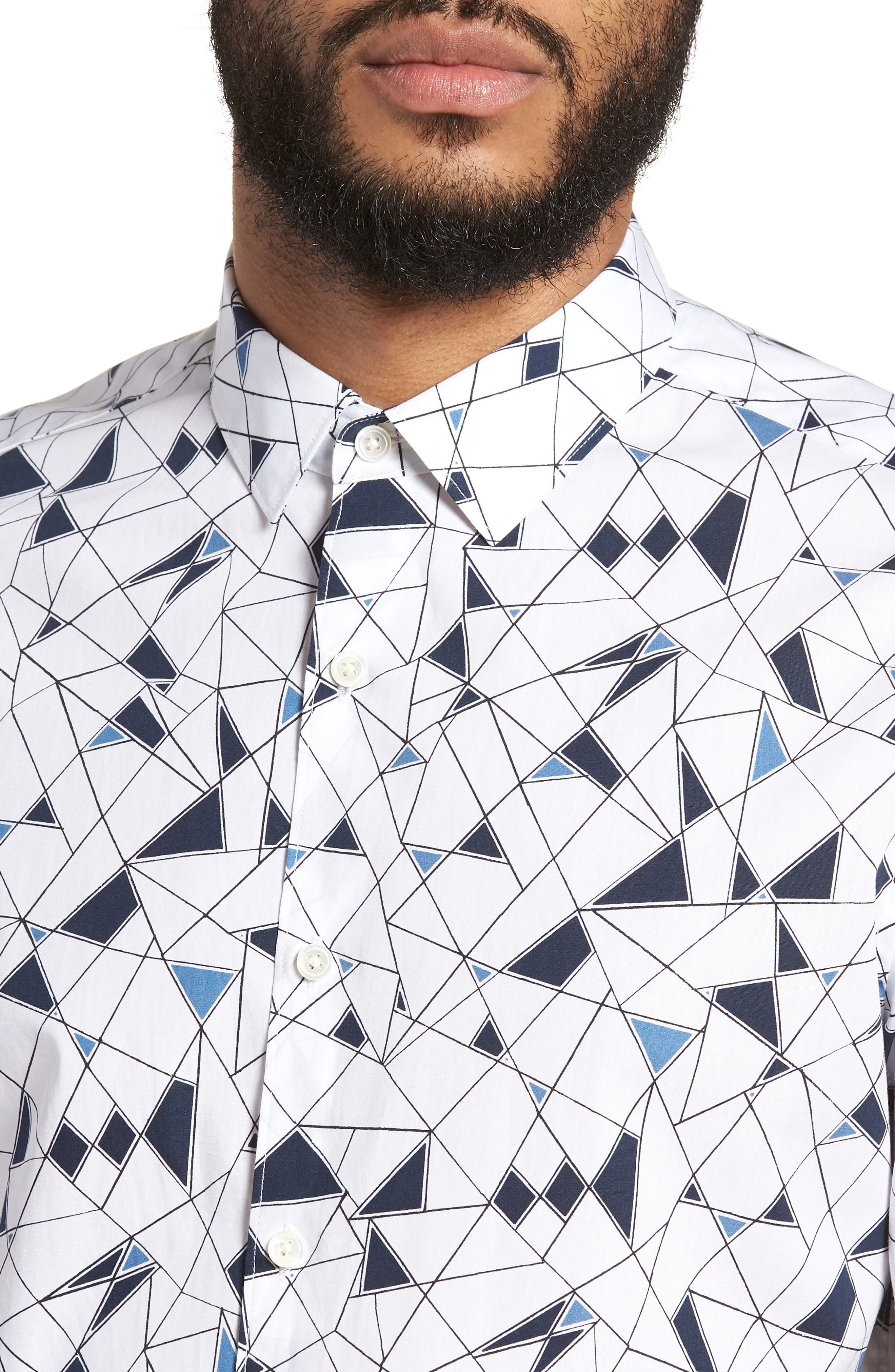 Murrary Trim Fit Geometric Short Sleeve Sport Shirt,                             Alternate thumbnail 4, color,                             424