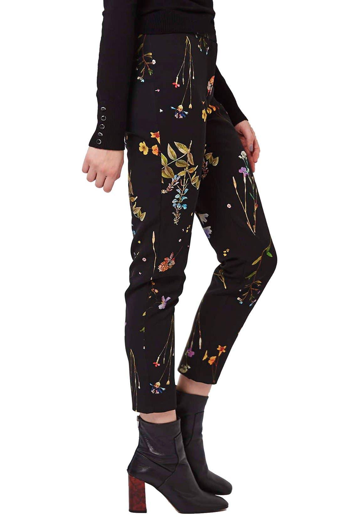 Floral Crop Cigarette Pants,                             Main thumbnail 1, color,                             001