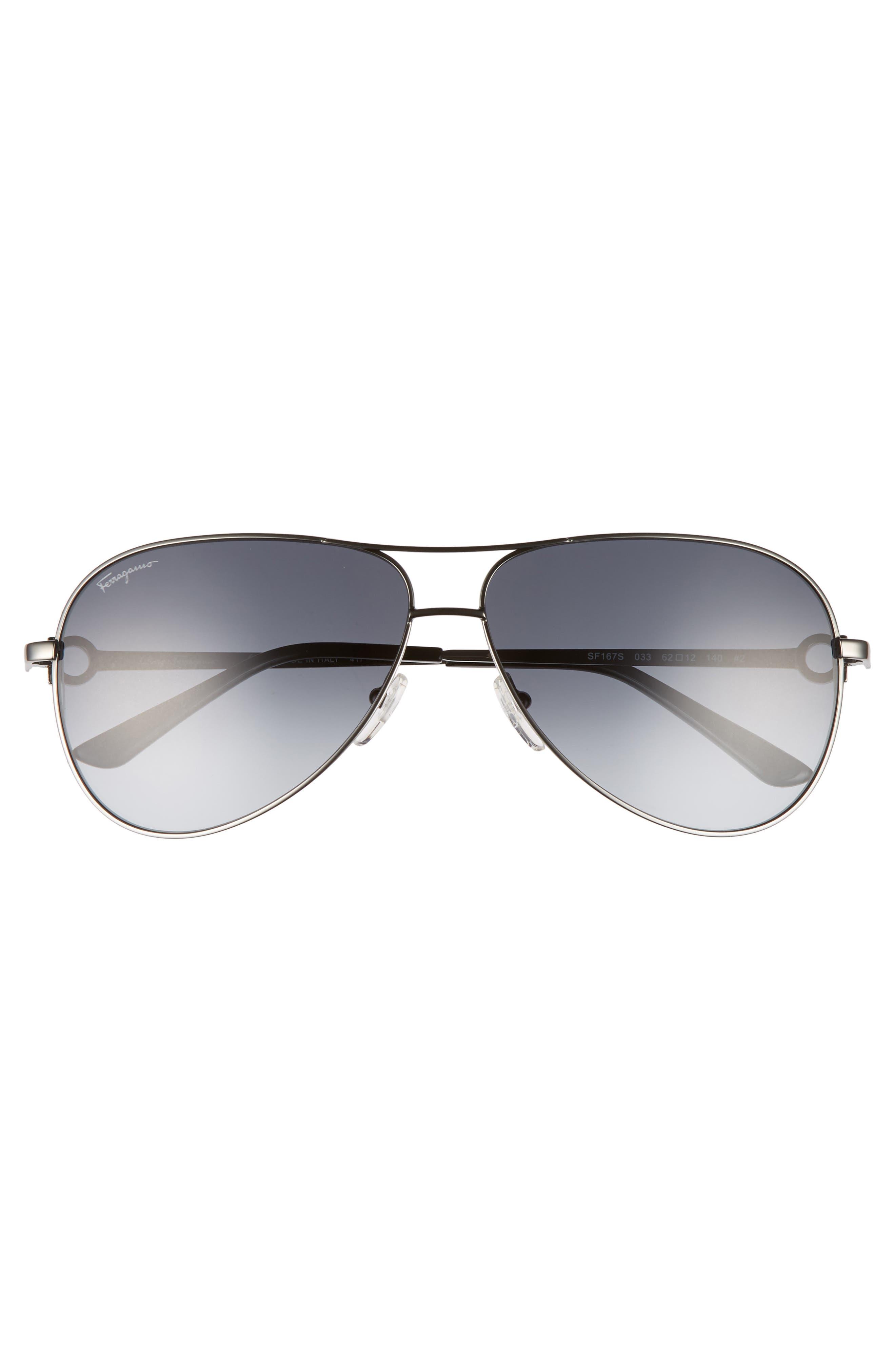 Gancio 62mm Aviator Sunglasses,                             Alternate thumbnail 2, color,                             SHINY DARK GUNMETAL