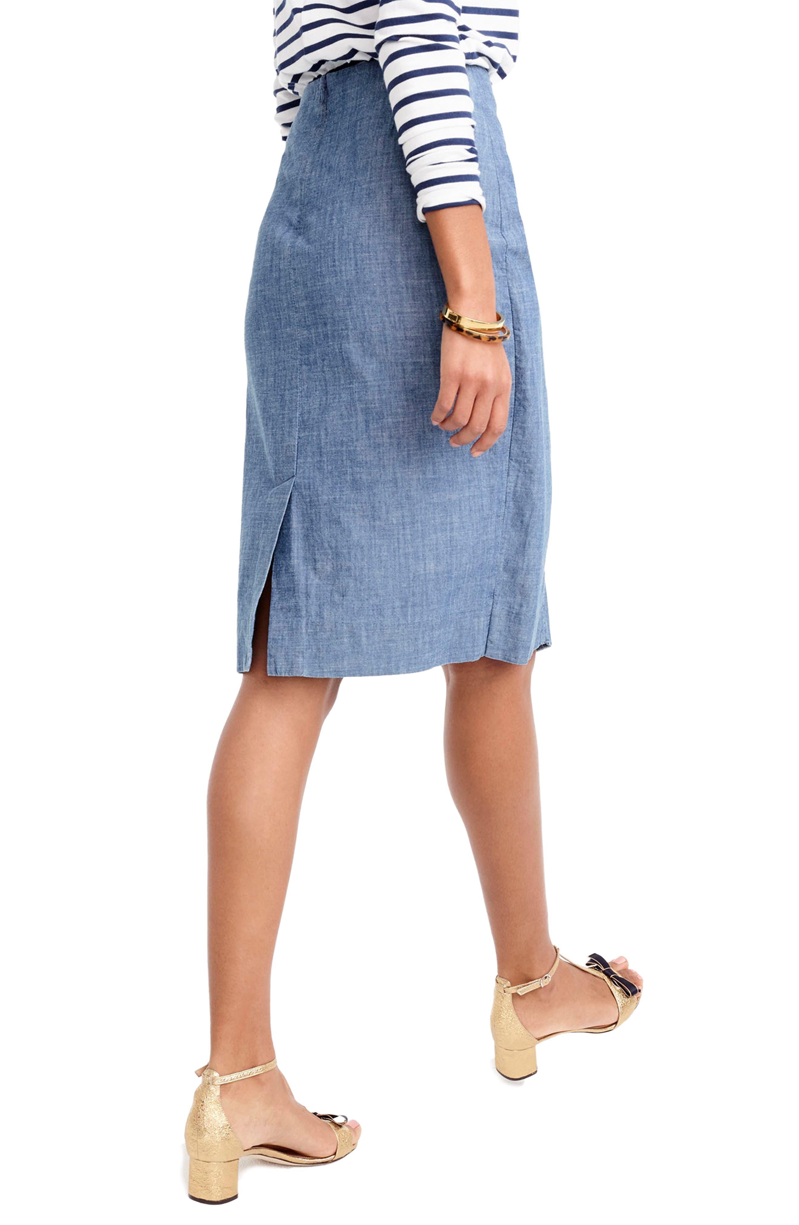 Chambray Ruffle Skirt,                             Alternate thumbnail 2, color,                             400