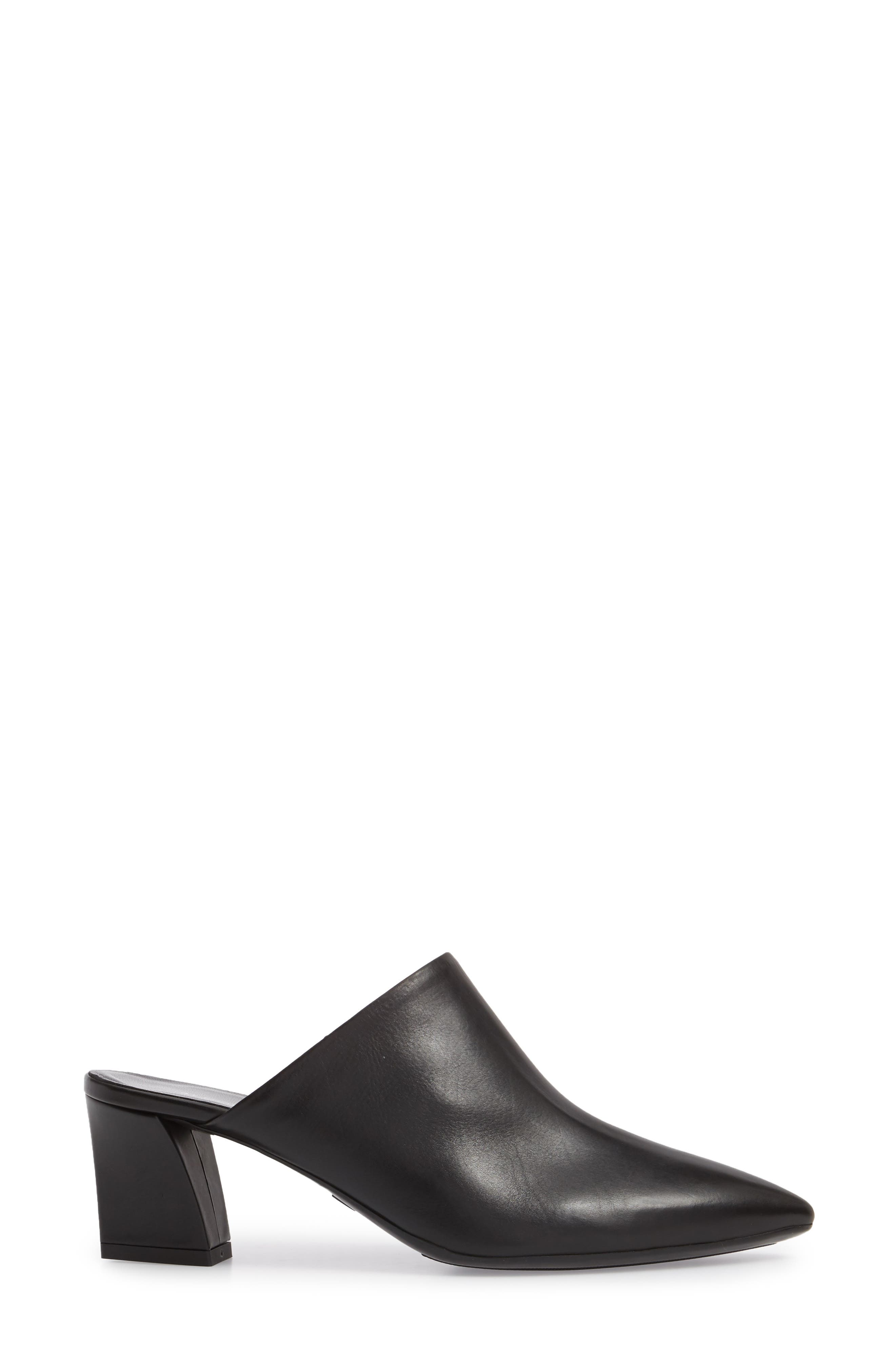 Pointy Toe Mule,                             Alternate thumbnail 3, color,                             BLACK LEATHER