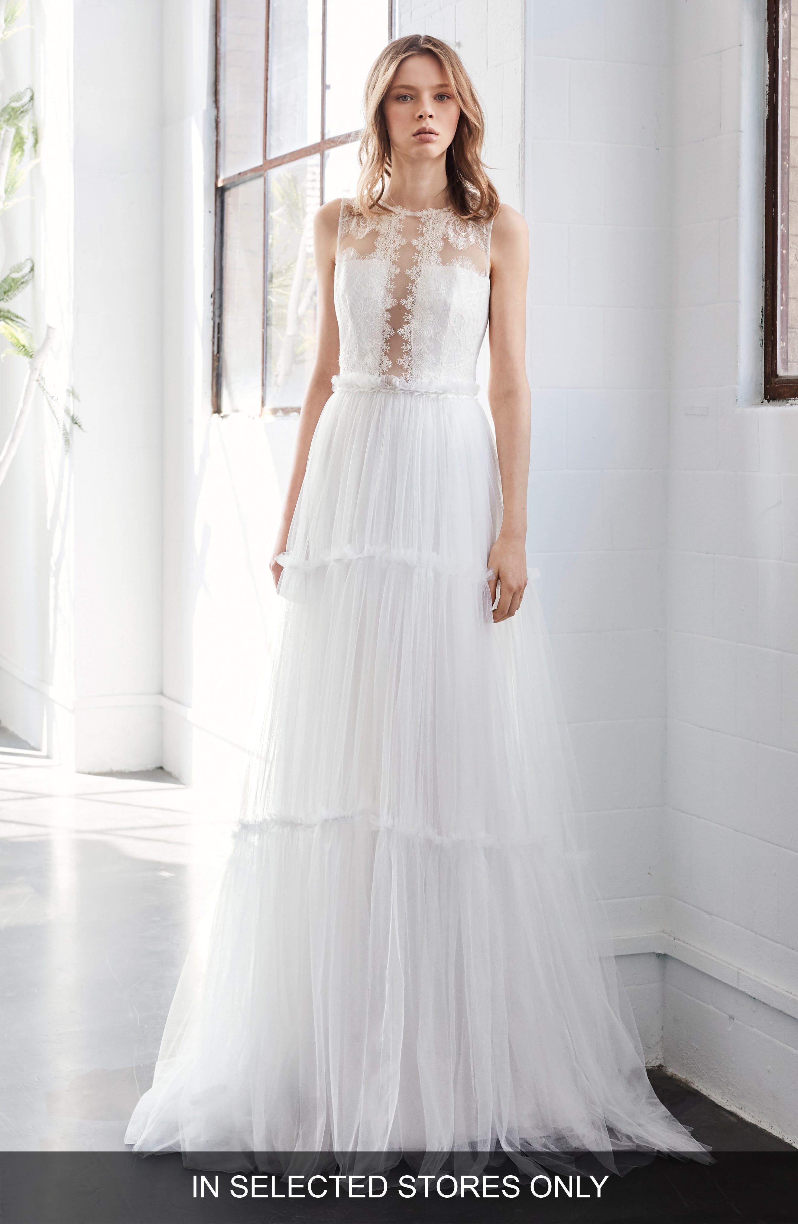 Inmaculada García Jaspe Lace & Tulle A-Line Gown,                             Main thumbnail 1, color,                             IVORY