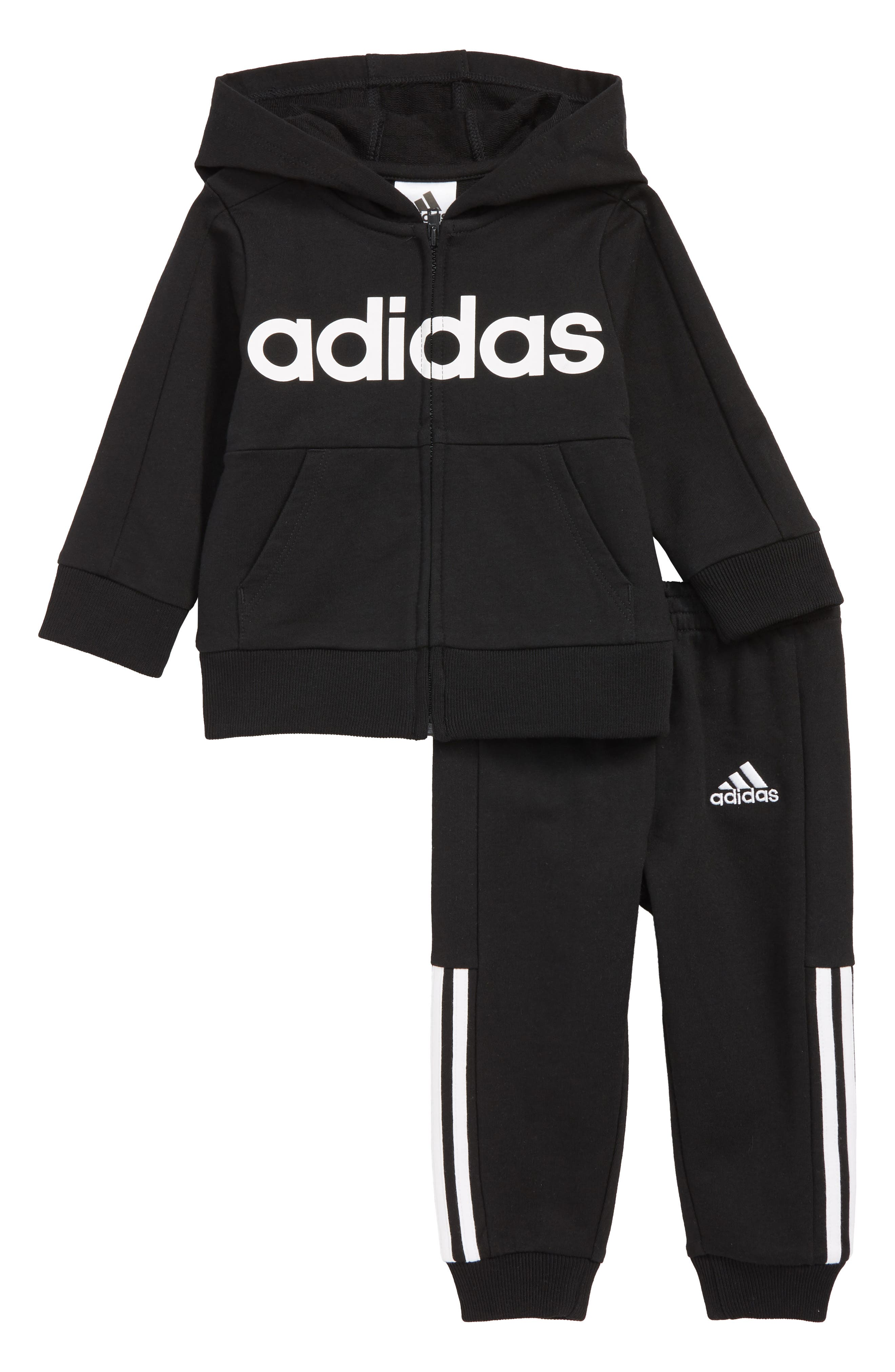Logo Full Zip Hoodie & Sweatpants Set, Main, color, BLACK