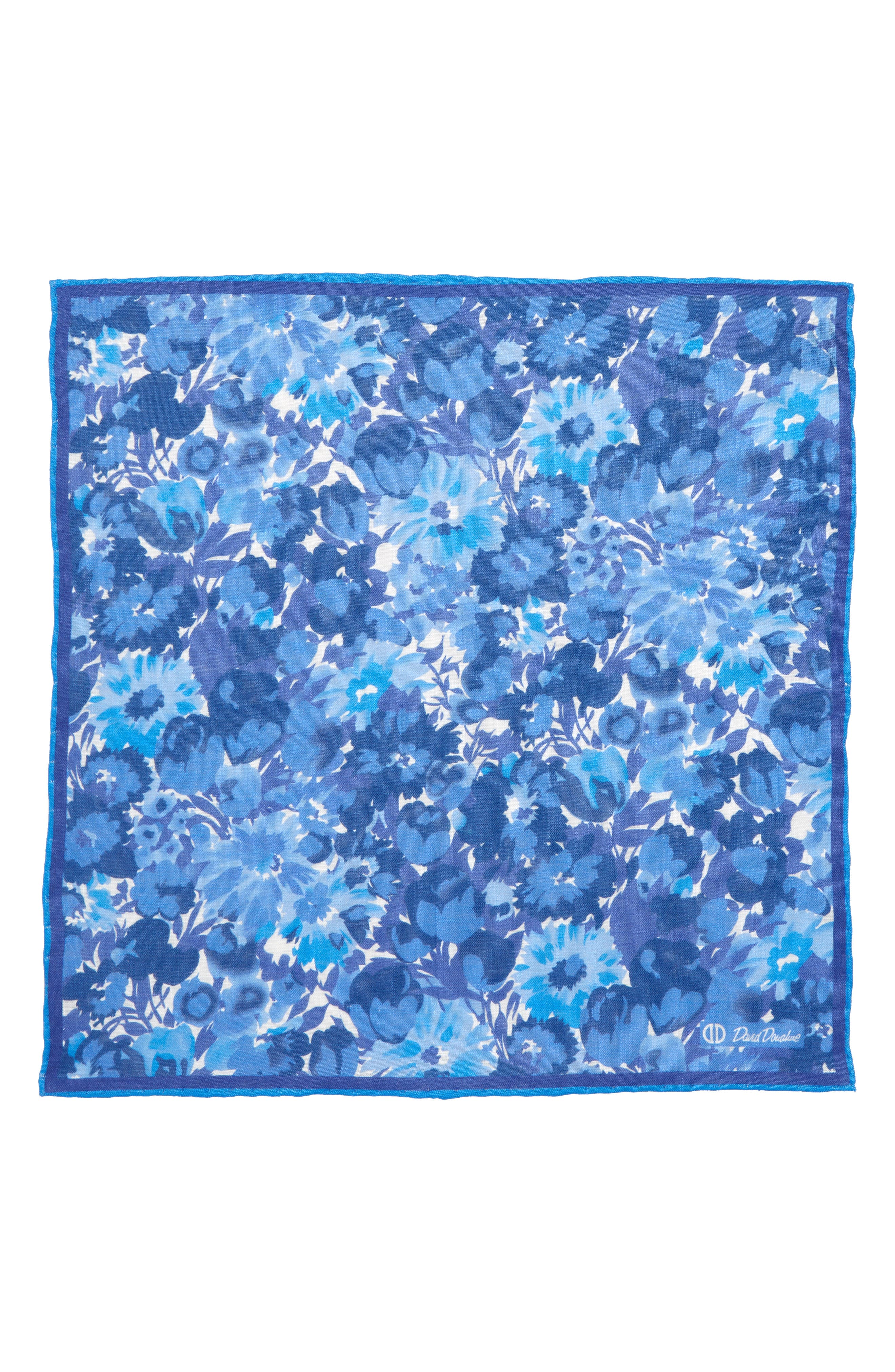 Floral Linen Pocket Square,                             Alternate thumbnail 2, color,                             BLUE