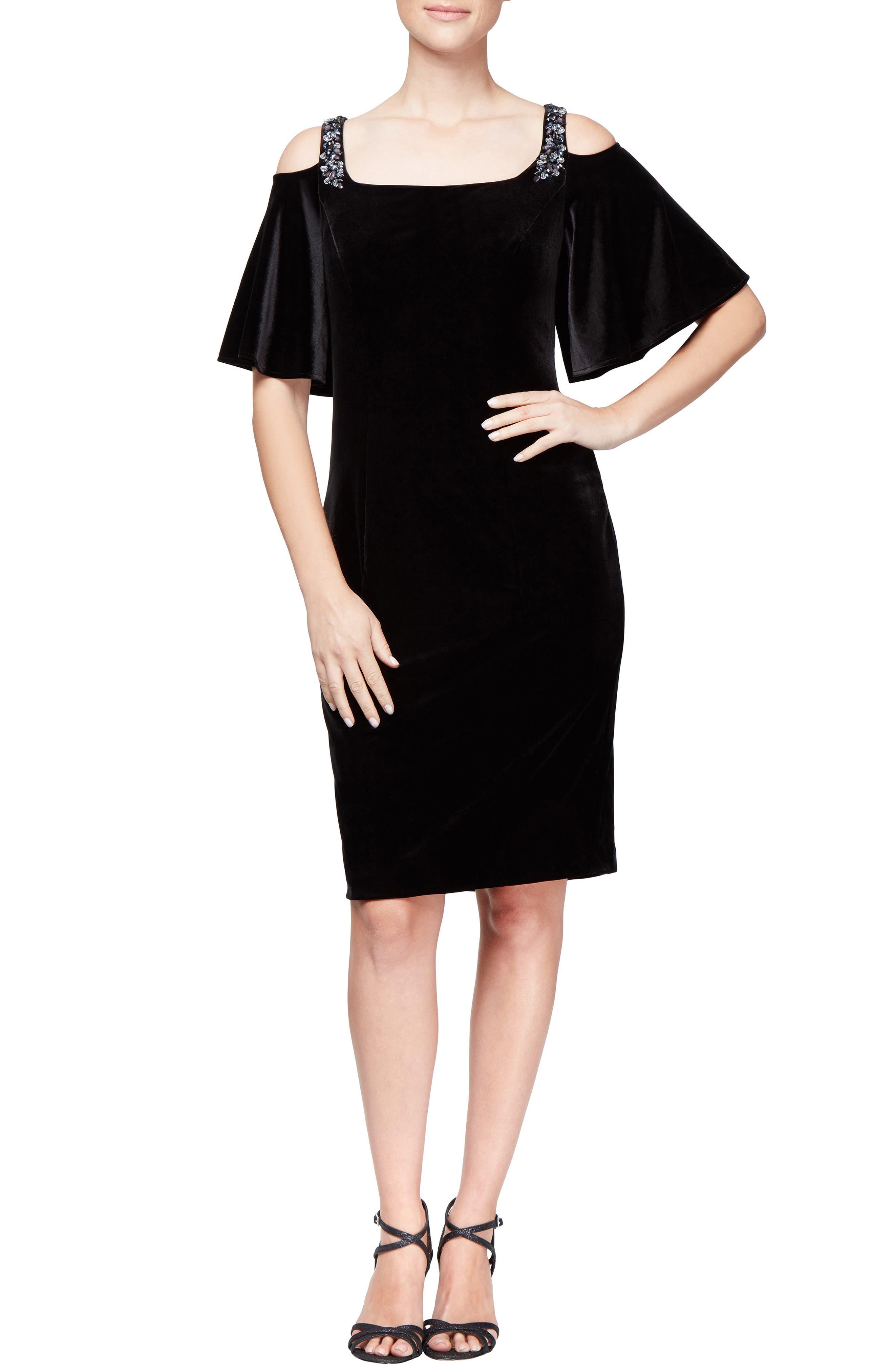 Velvet Cold Shoulder Dress,                             Main thumbnail 1, color,                             BLACK