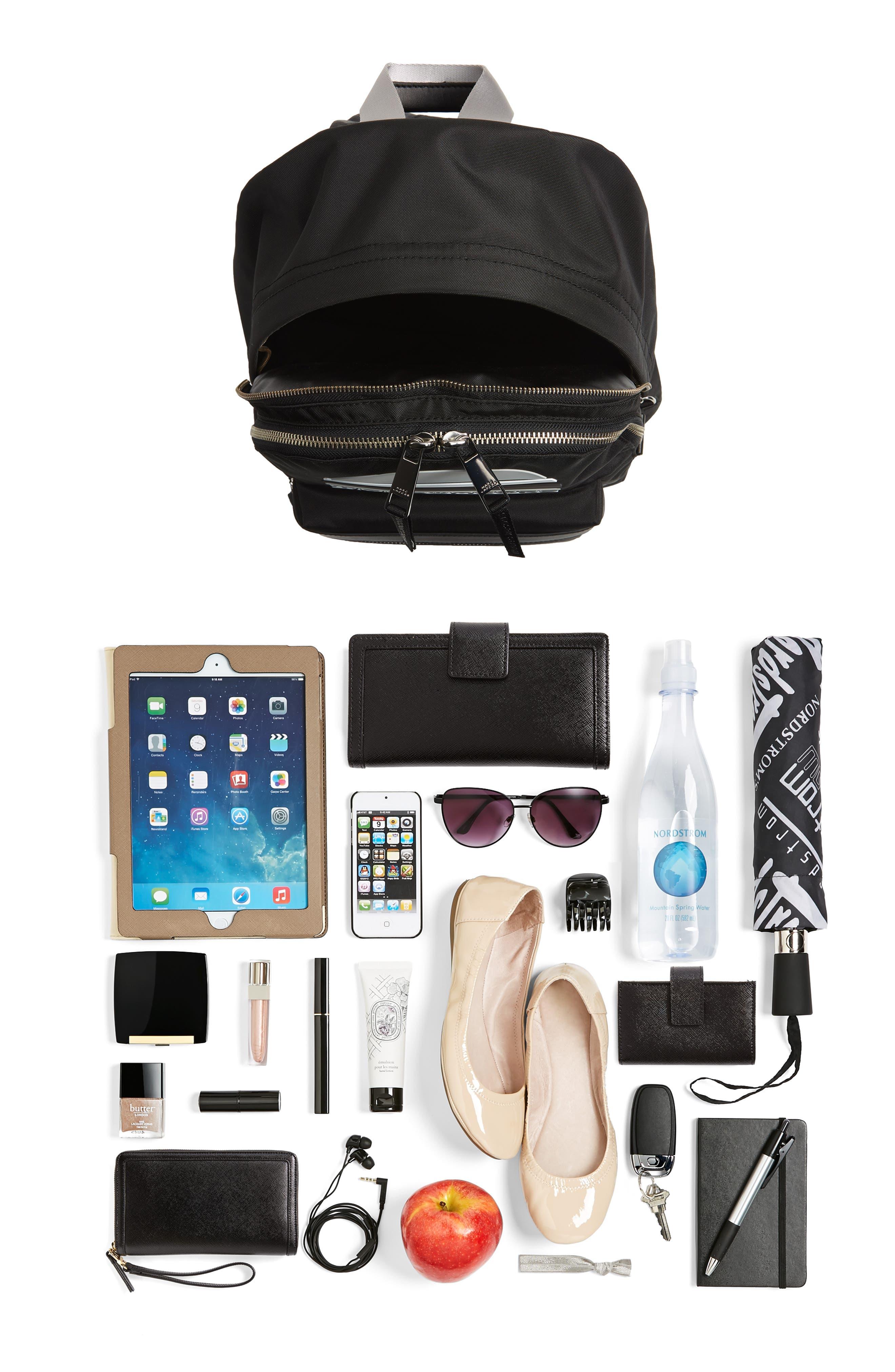 Large Sport Trek Nylon Backpack,                             Alternate thumbnail 7, color,                             BLACK