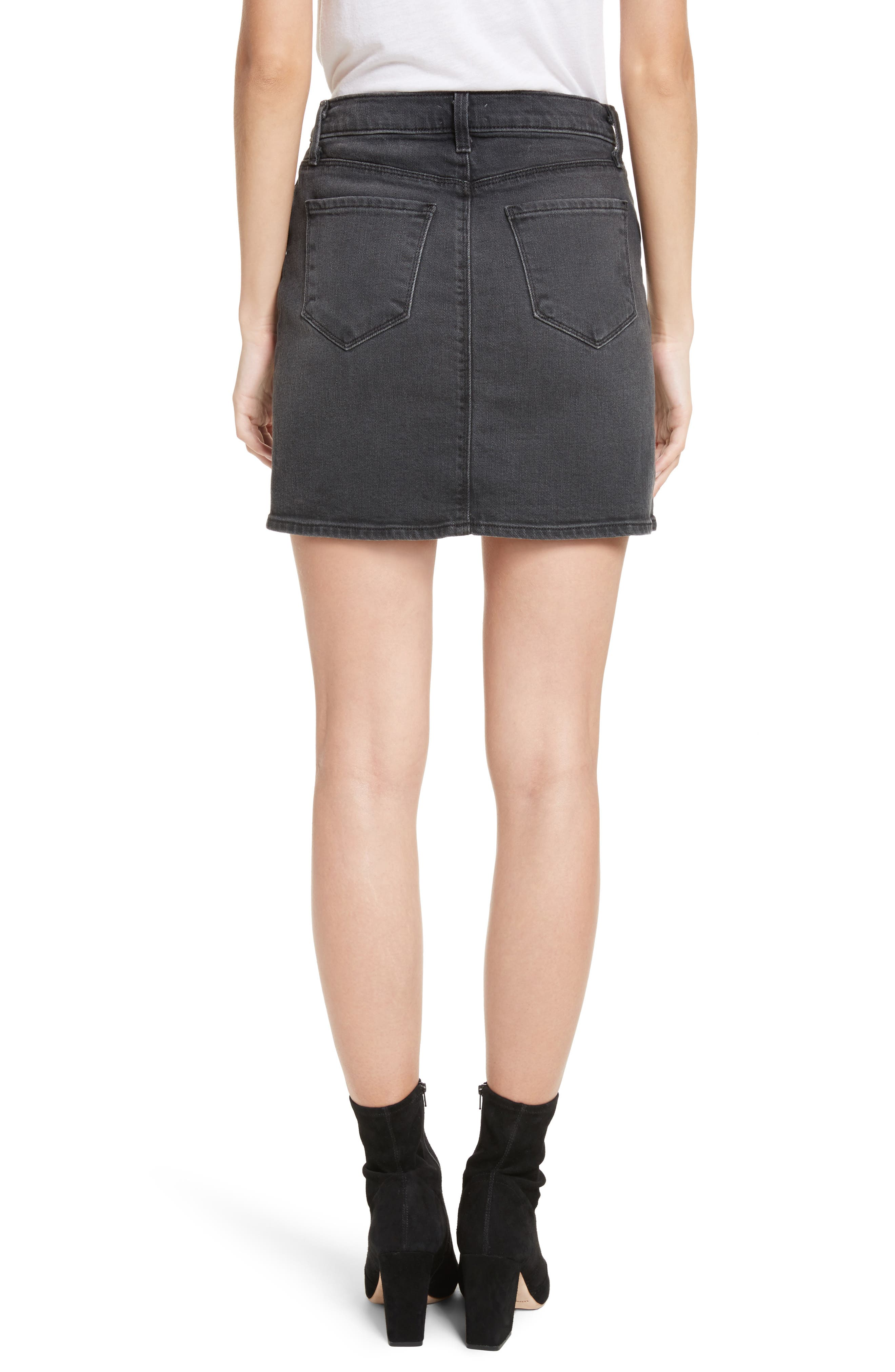 Portia Lace Up Denim Skirt,                             Alternate thumbnail 2, color,                             006