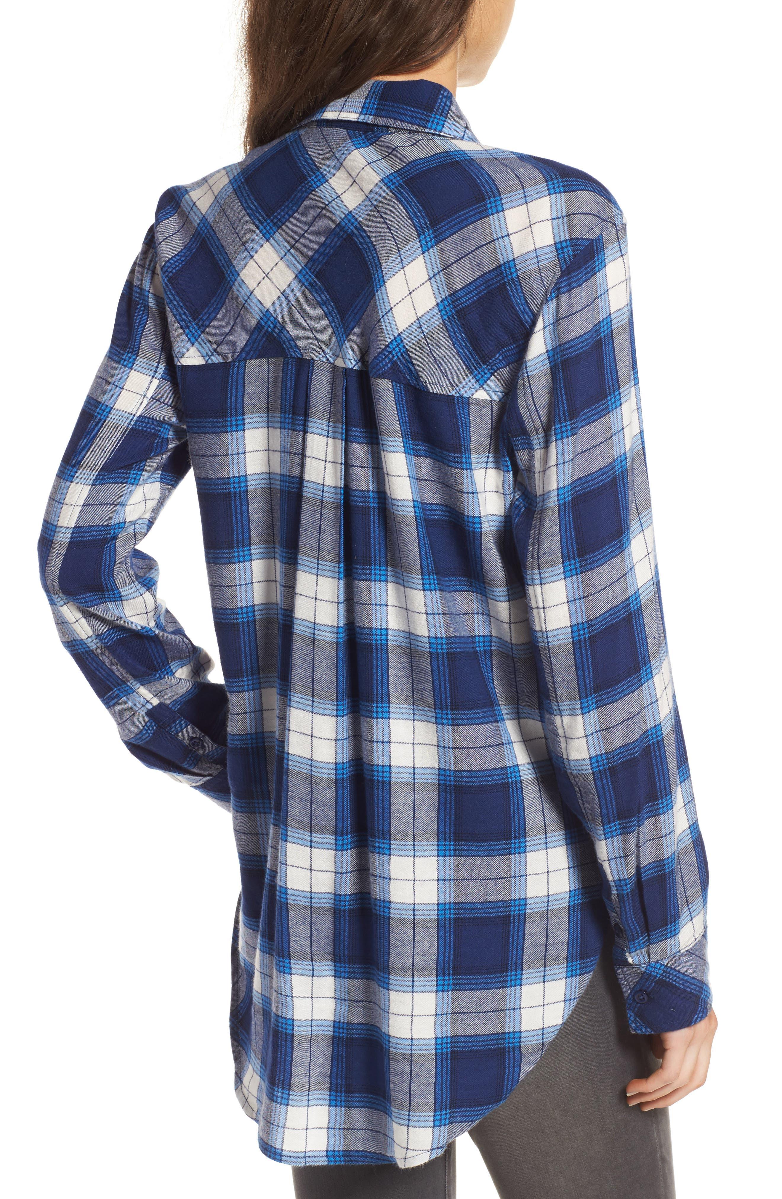 Plaid Cotton Blend Shirt,                             Alternate thumbnail 7, color,