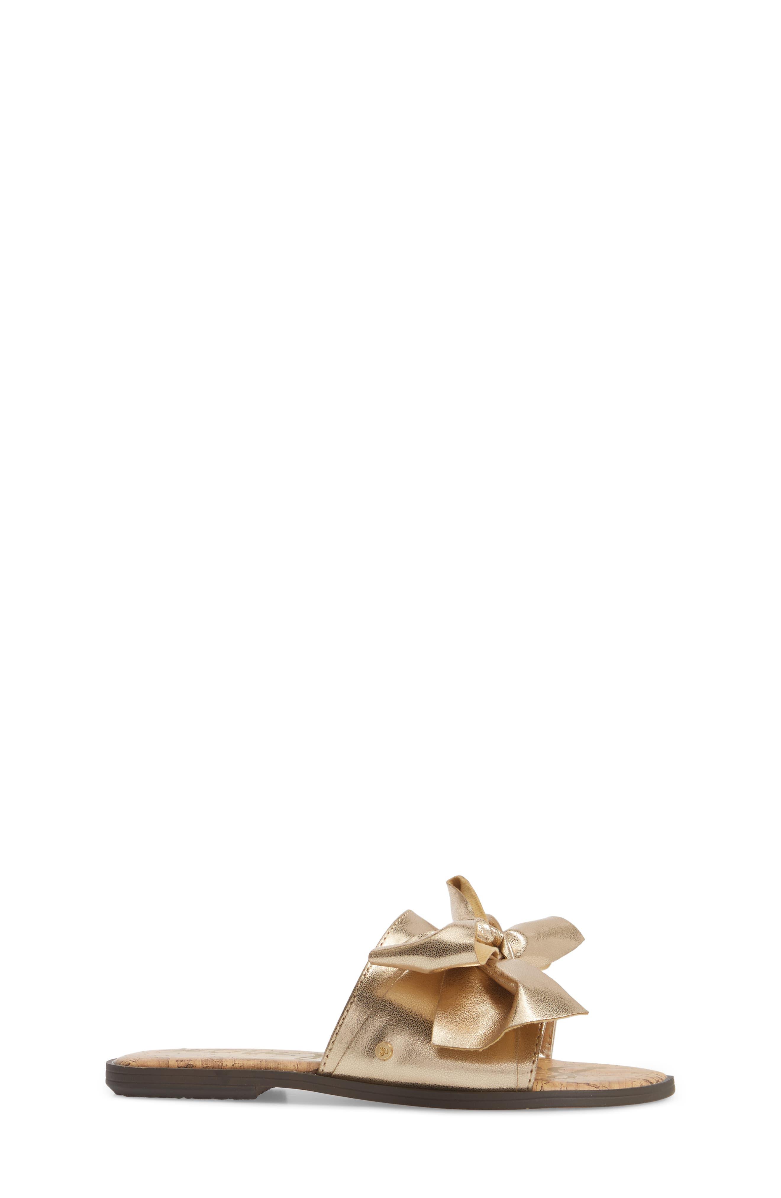 Gigi Bow Faux Leather Sandal,                             Alternate thumbnail 9, color,