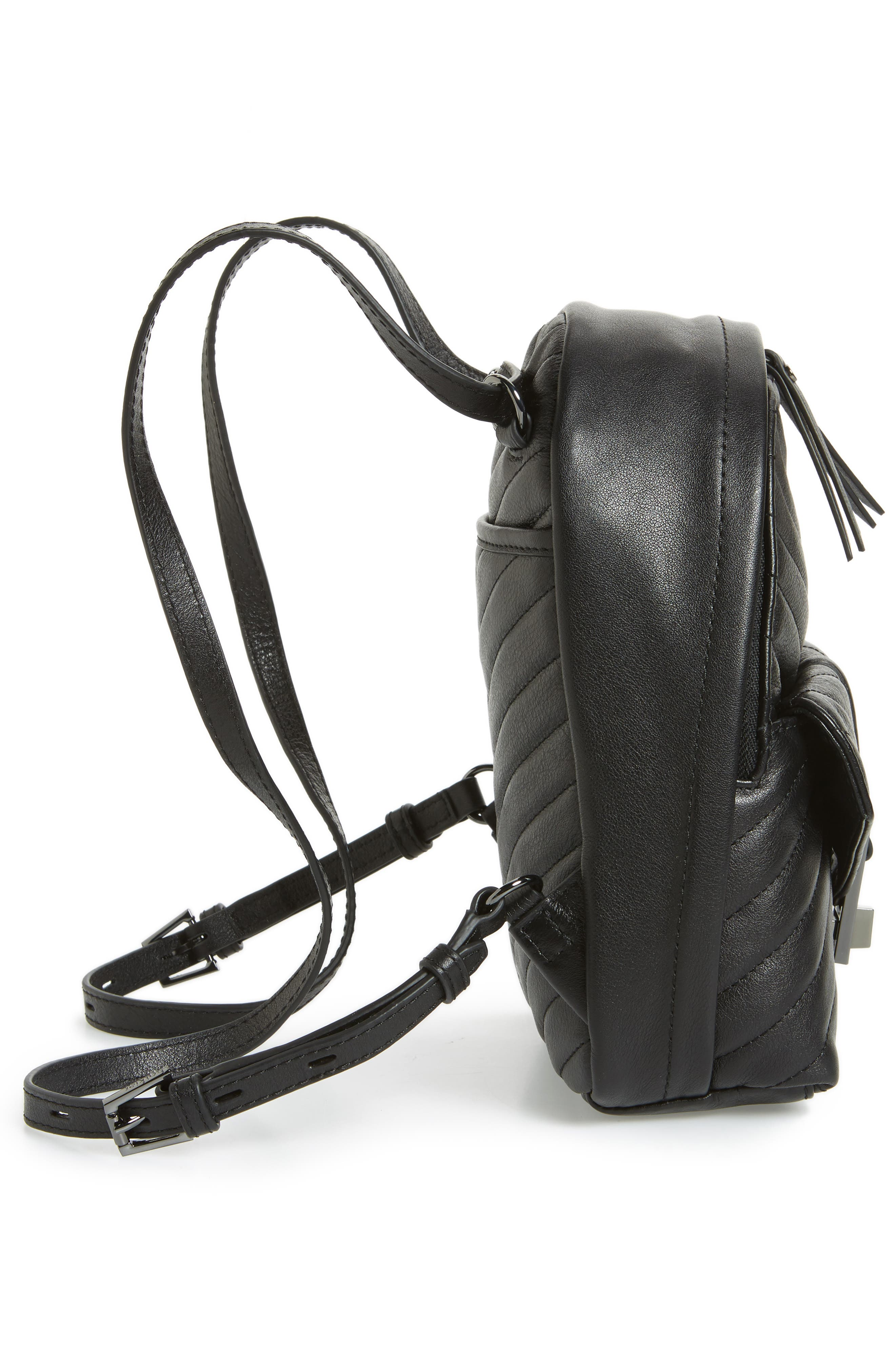 Dakota Quilted Leather Backpack,                             Alternate thumbnail 6, color,                             001