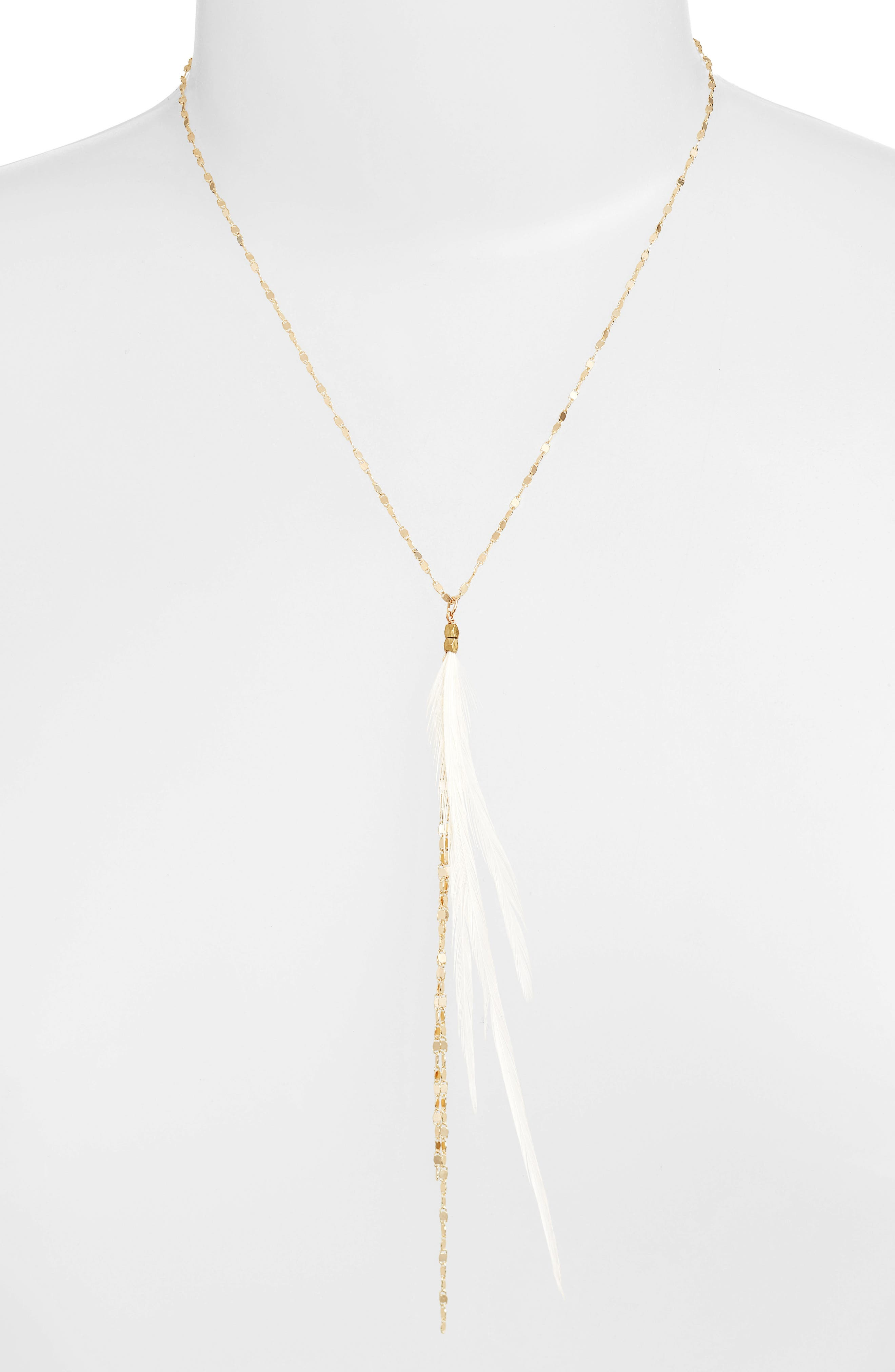 Glistening Feather Y Necklace,                             Alternate thumbnail 6, color,