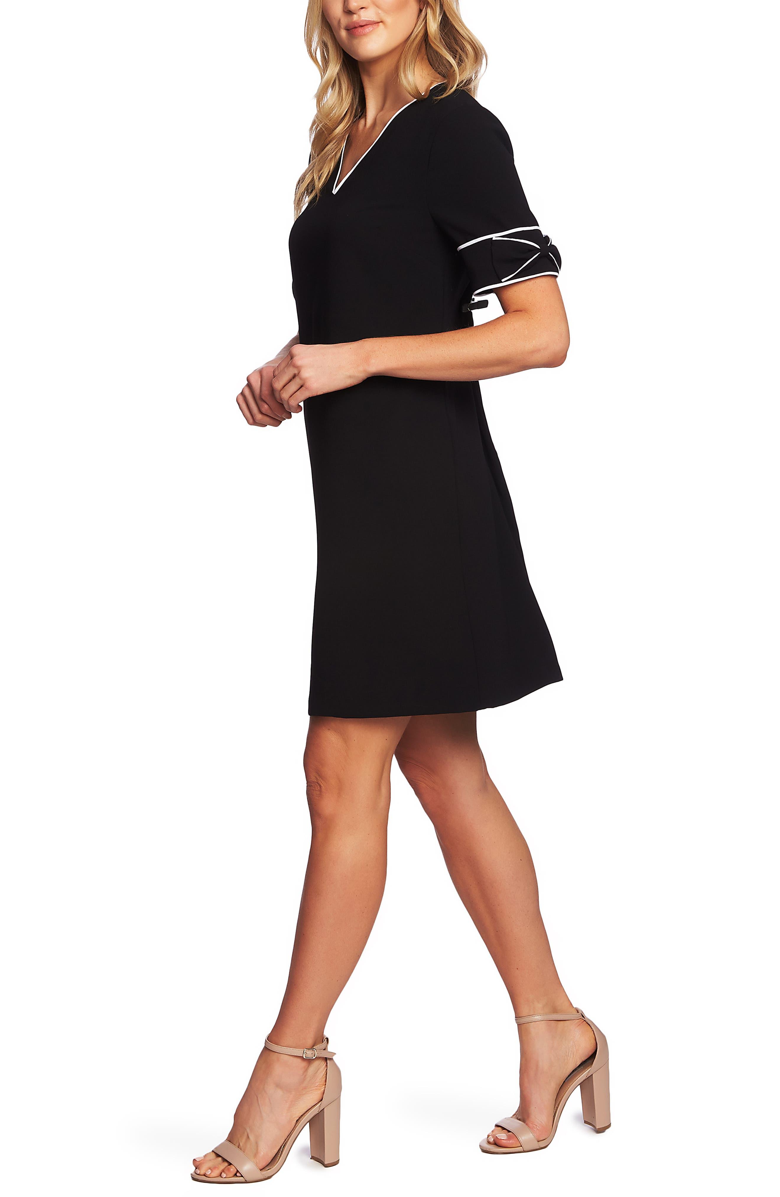 CECE,                             Bow Trim Shift Dress,                             Alternate thumbnail 3, color,                             RICH BLACK