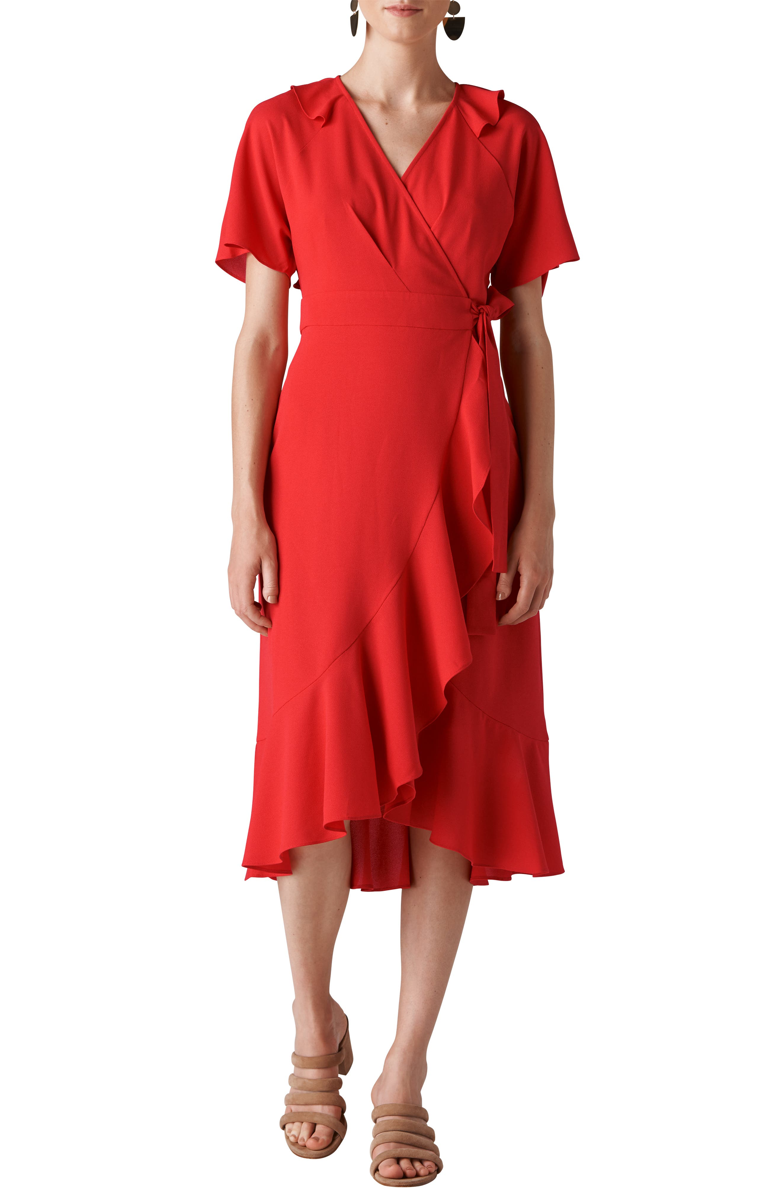 Abigail Frill Wrap Dress,                         Main,                         color, RED