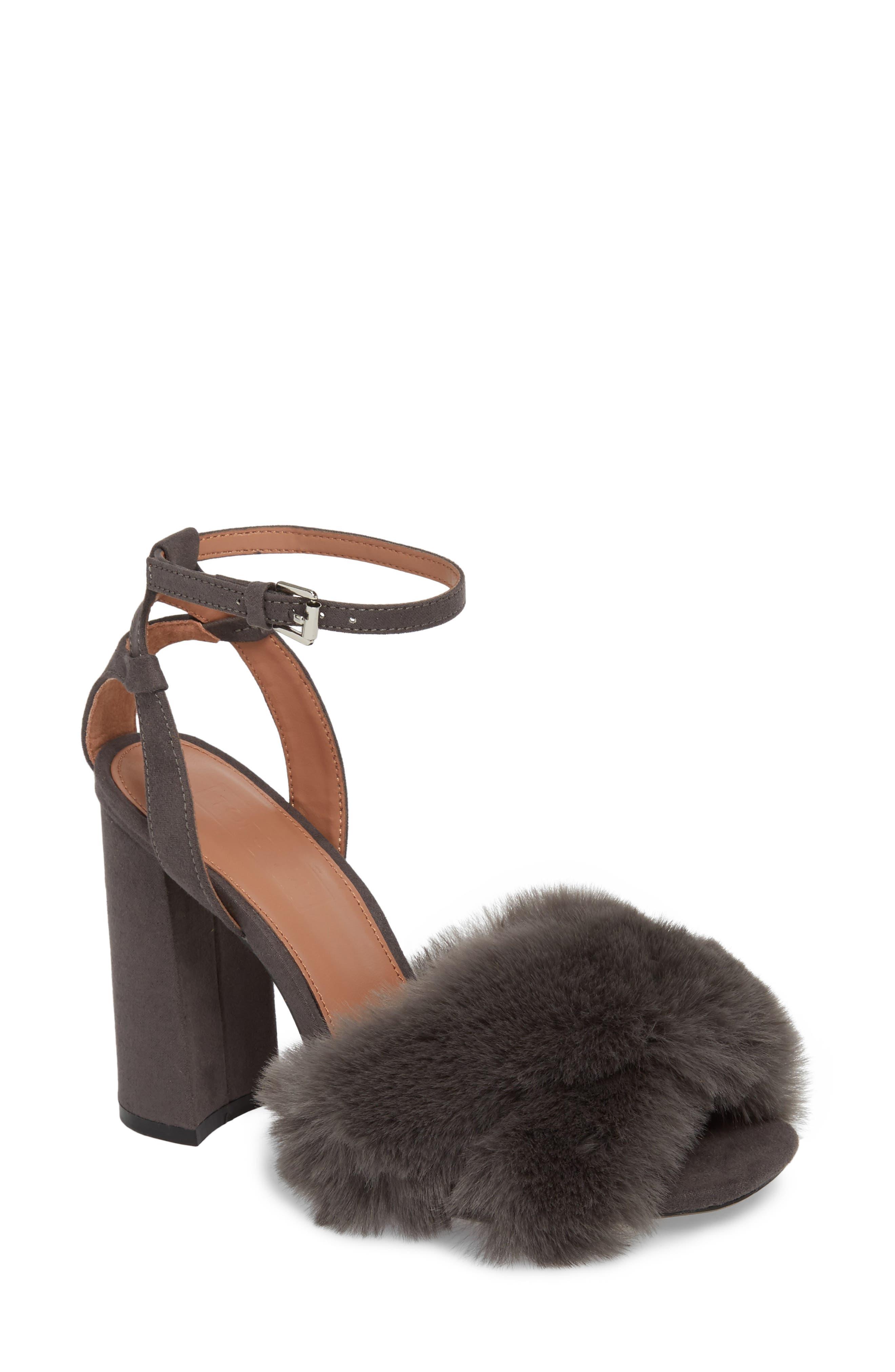 Sassy Faux Fur Sandal,                         Main,                         color, 020