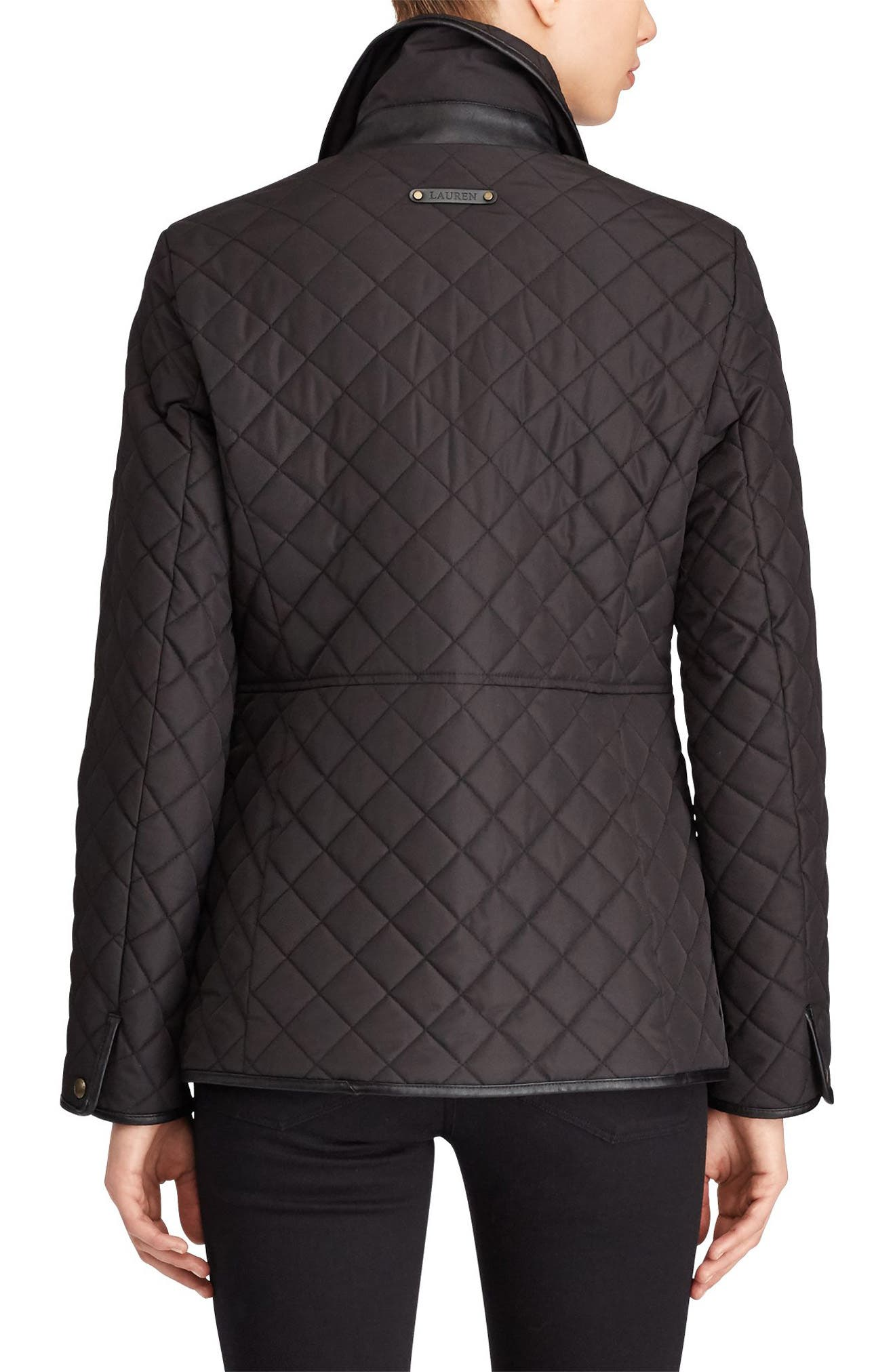 Faux Leather Trim Quilted Jacket,                             Alternate thumbnail 2, color,                             BLACK