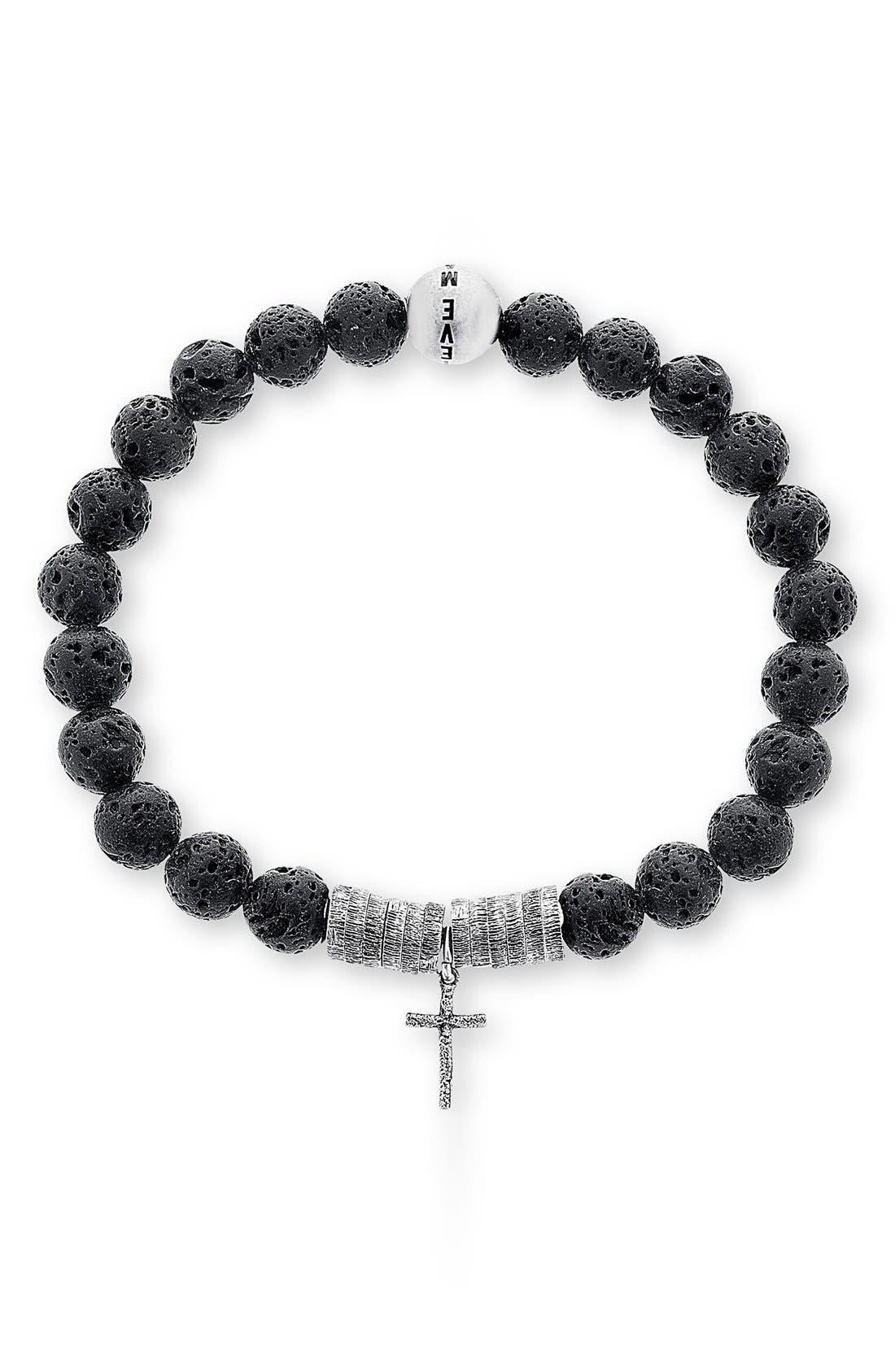 Lava Rock Bead Bracelet,                         Main,                         color, BLACK