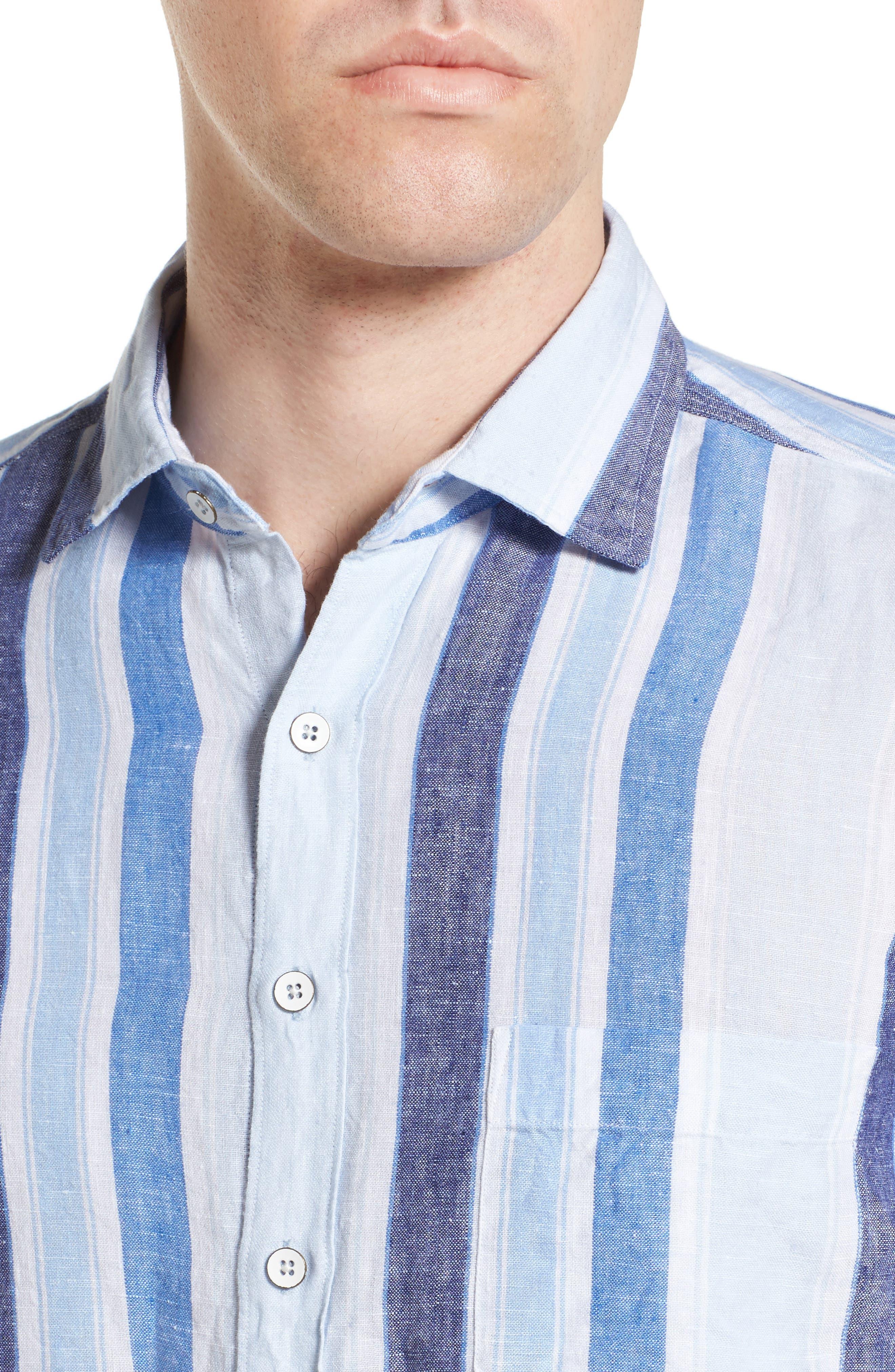 Glenavy Stripe Linen Sport Shirt,                             Alternate thumbnail 4, color,                             432