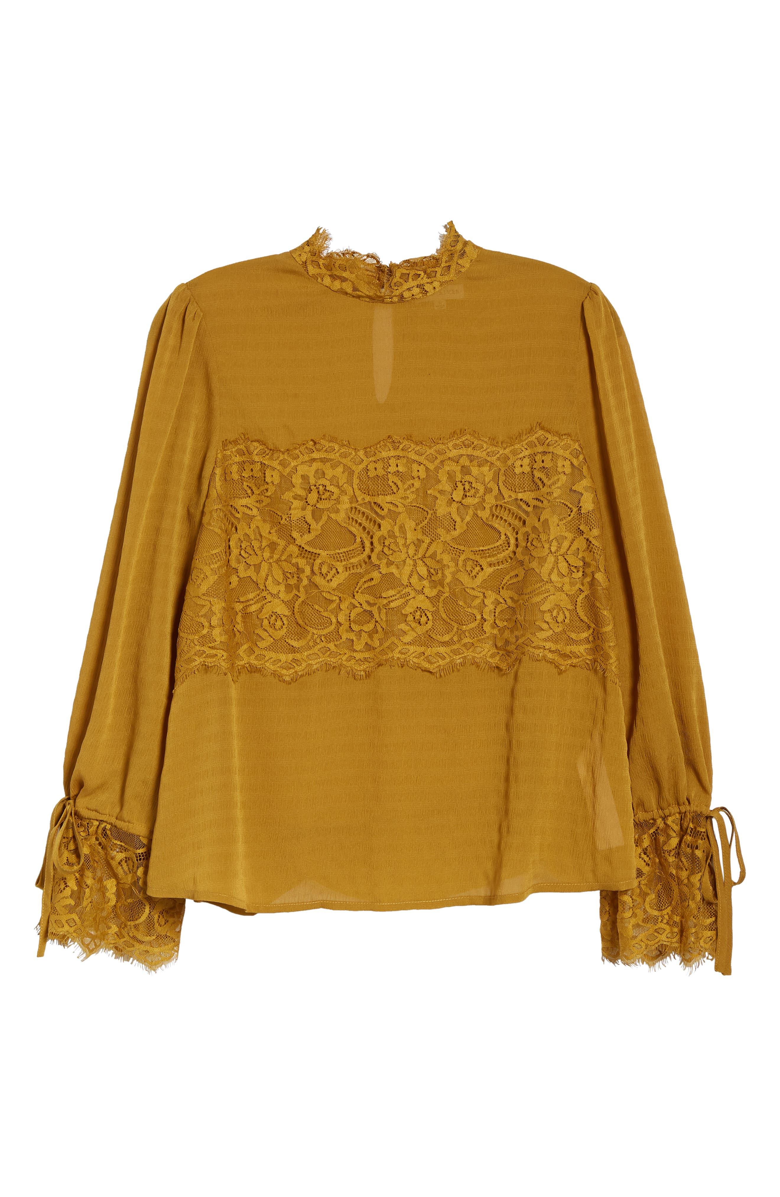 Lace Panel Blouse,                             Alternate thumbnail 6, color,                             GOLDEN ROD