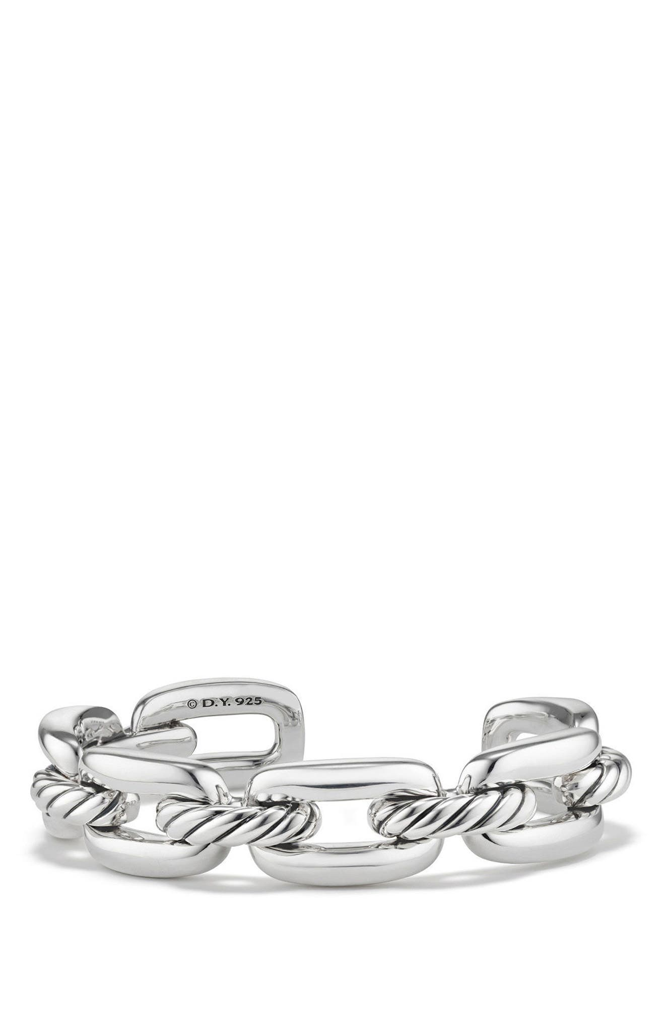 Wellesley Chain Link Cuff Bracelet,                             Main thumbnail 1, color,                             SILVER